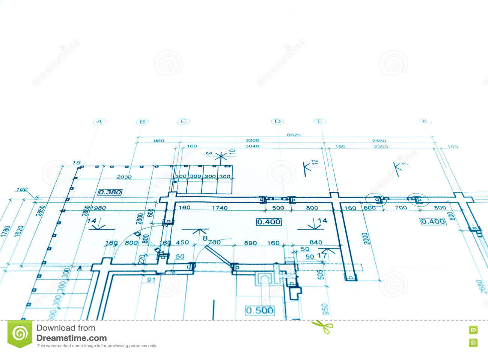 Het project van het vloerplan, technische tekening, de bedelaars van de bouwblauwdruk
