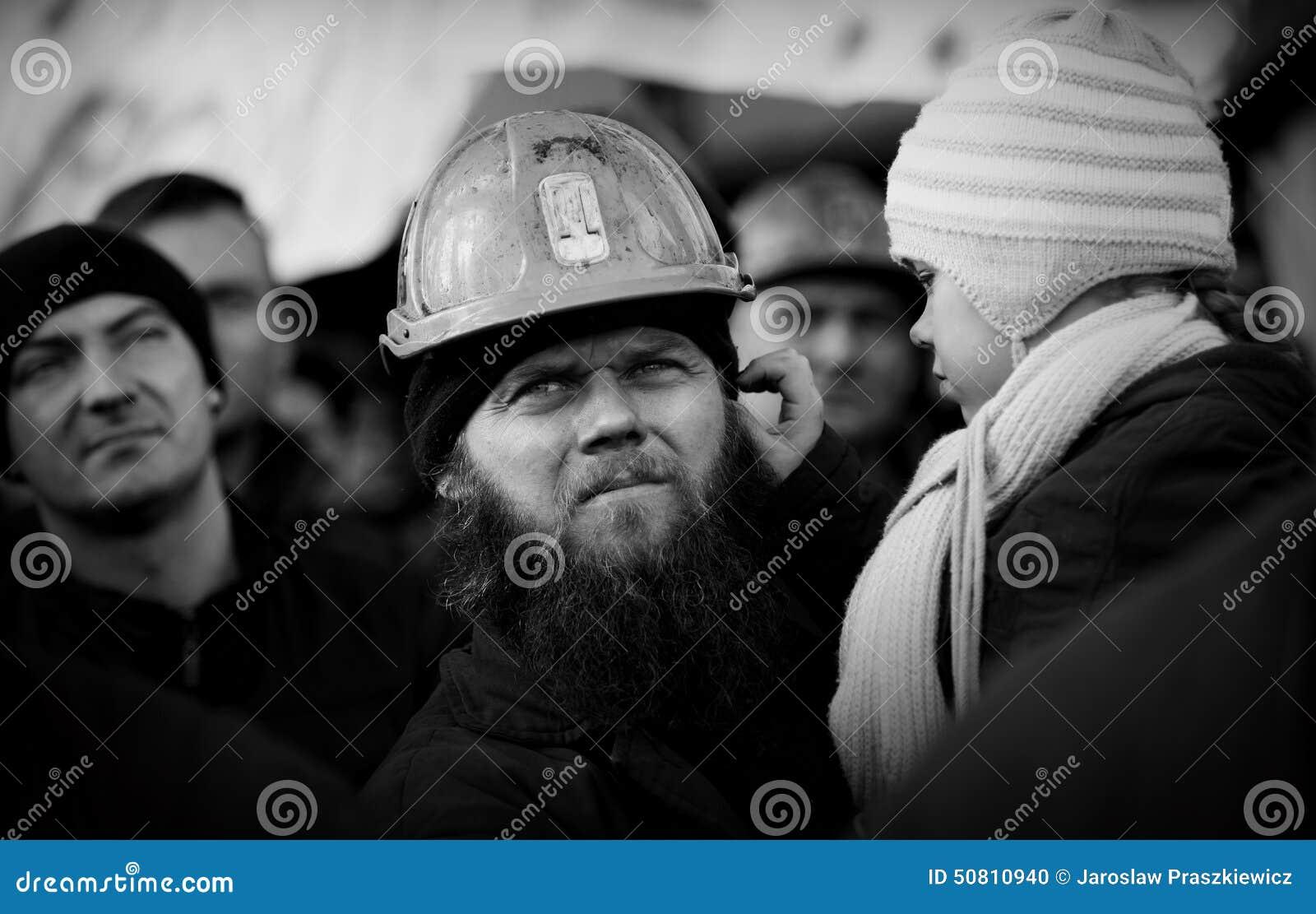 Het Protest actie-van staking van Silezische mijnwerkers