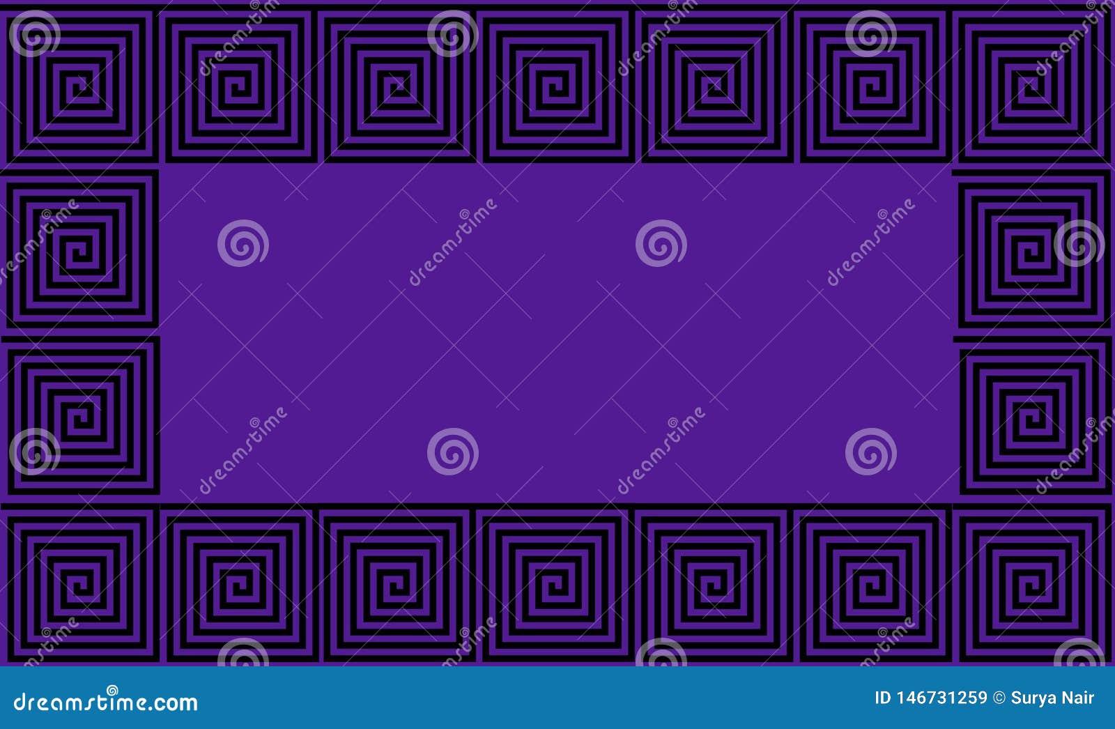 Het purpere en Zwarte naadloze patroon van de Kader Oude Griekse meander, simplistische zwarte historische achtergrond Geometrisc