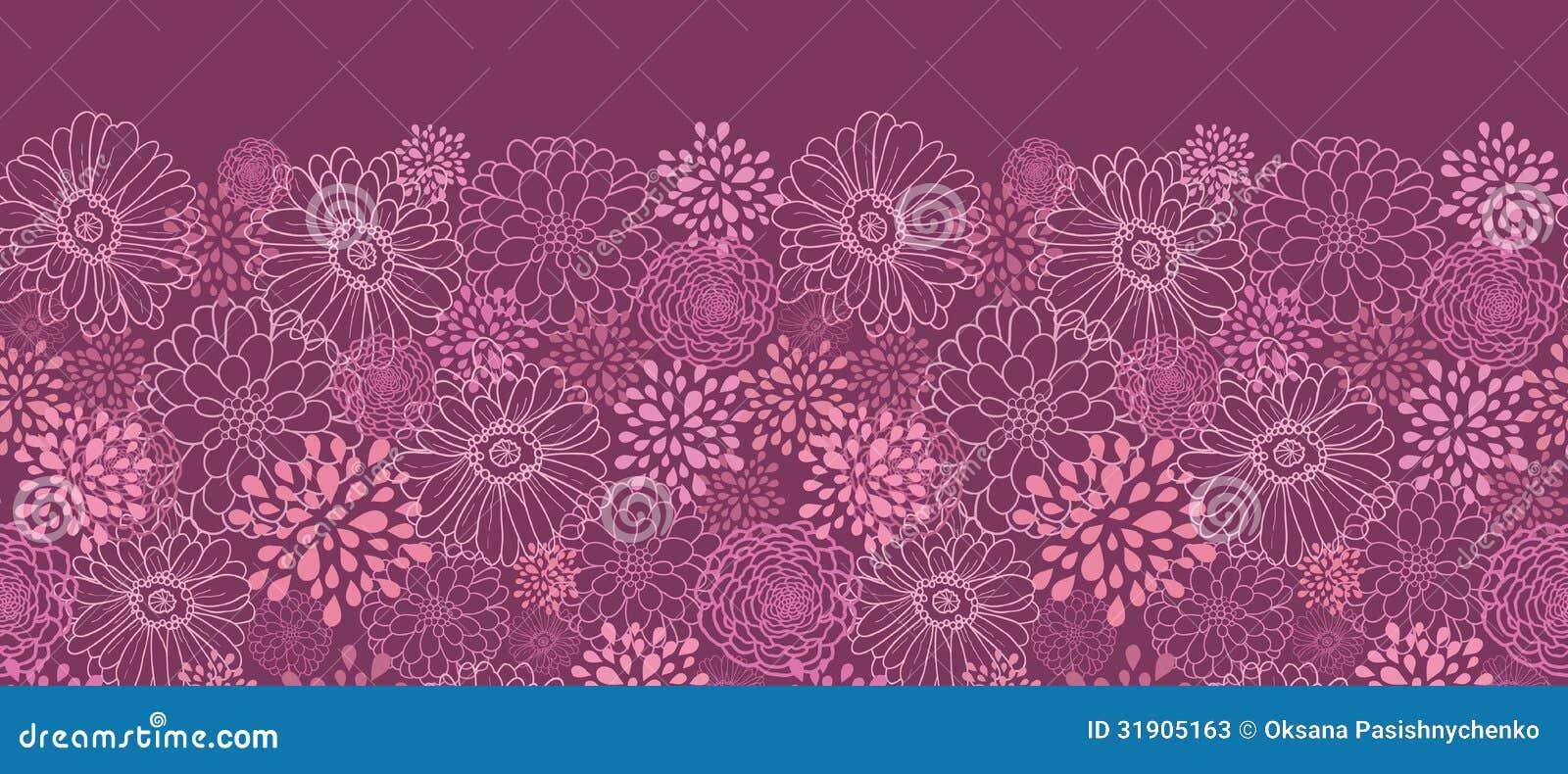 Het purpere gebied bloeit horizontaal naadloos patroon