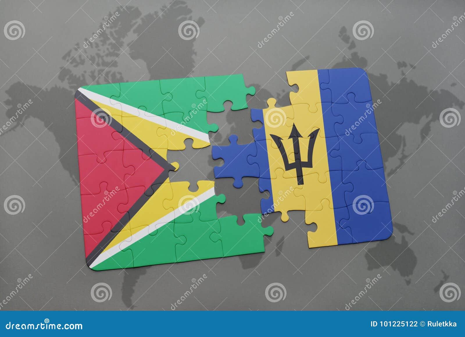 Het raadsel met de nationale vlag van Guyana en Barbados op een wereld brengen achtergrond in kaart