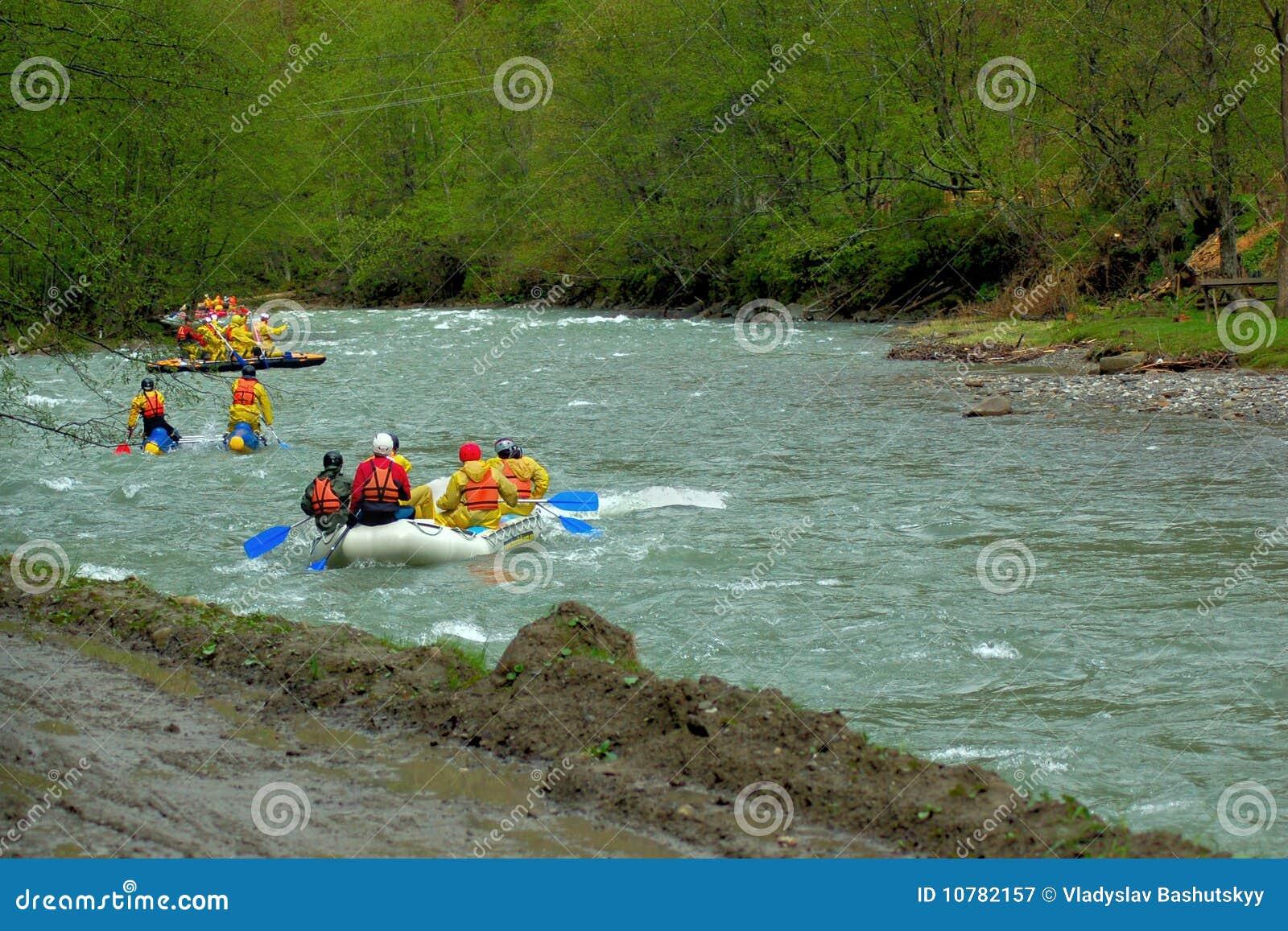Het rafting van het team