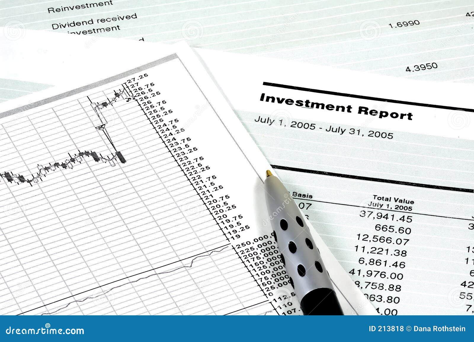 Het Rapport van de investering