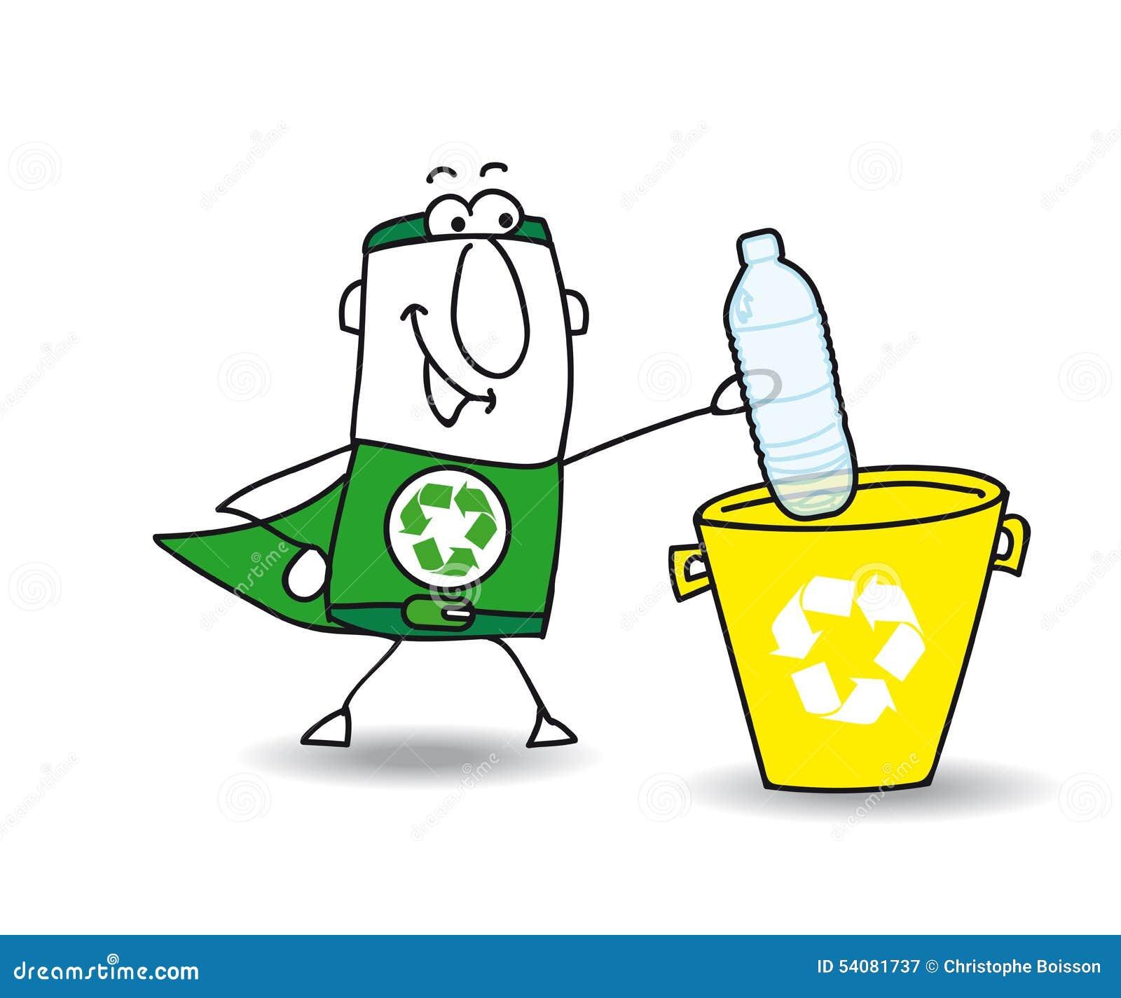 Het recycling van een plastic fles met Joe