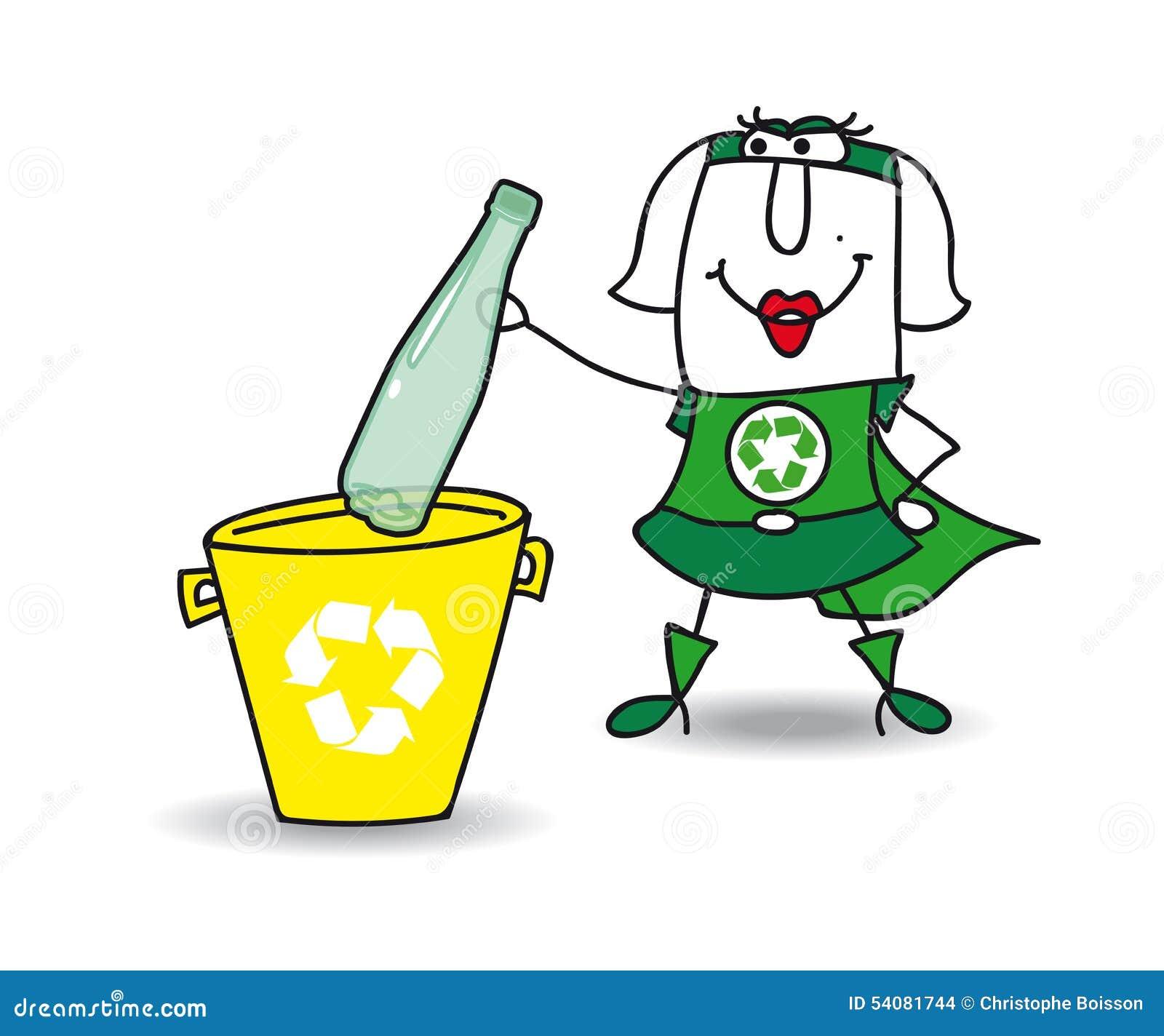 Het recycling van een plastic fles met Karen