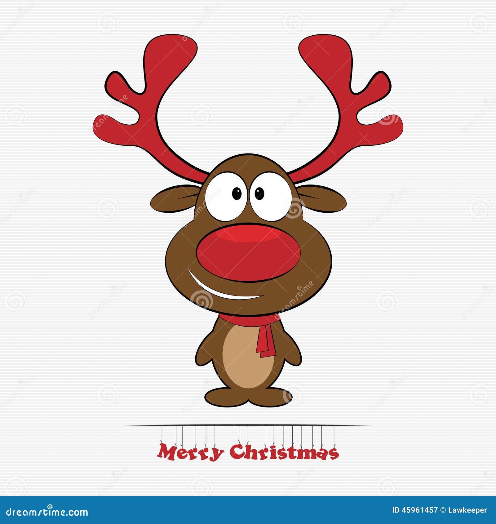 Het Rendier Rode Neus Van Rudolph Vector Illustratie Illustratie