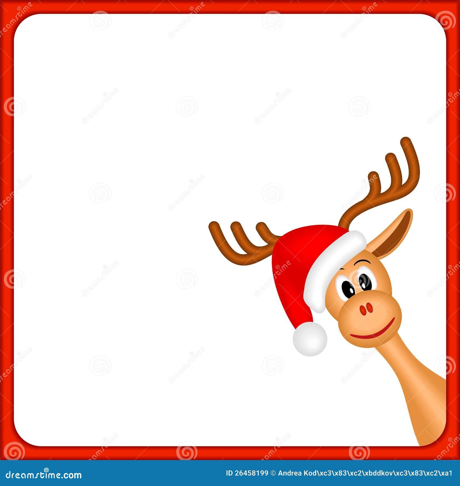 Het rendier van Kerstmis in leeg frame met rode grens