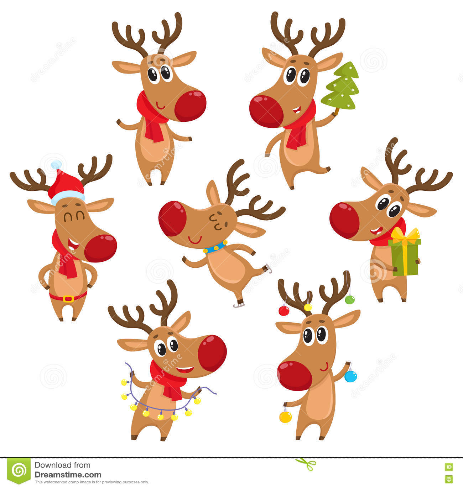 Het Rendier Van Rudolf Met Kerstboom Giften Slinger