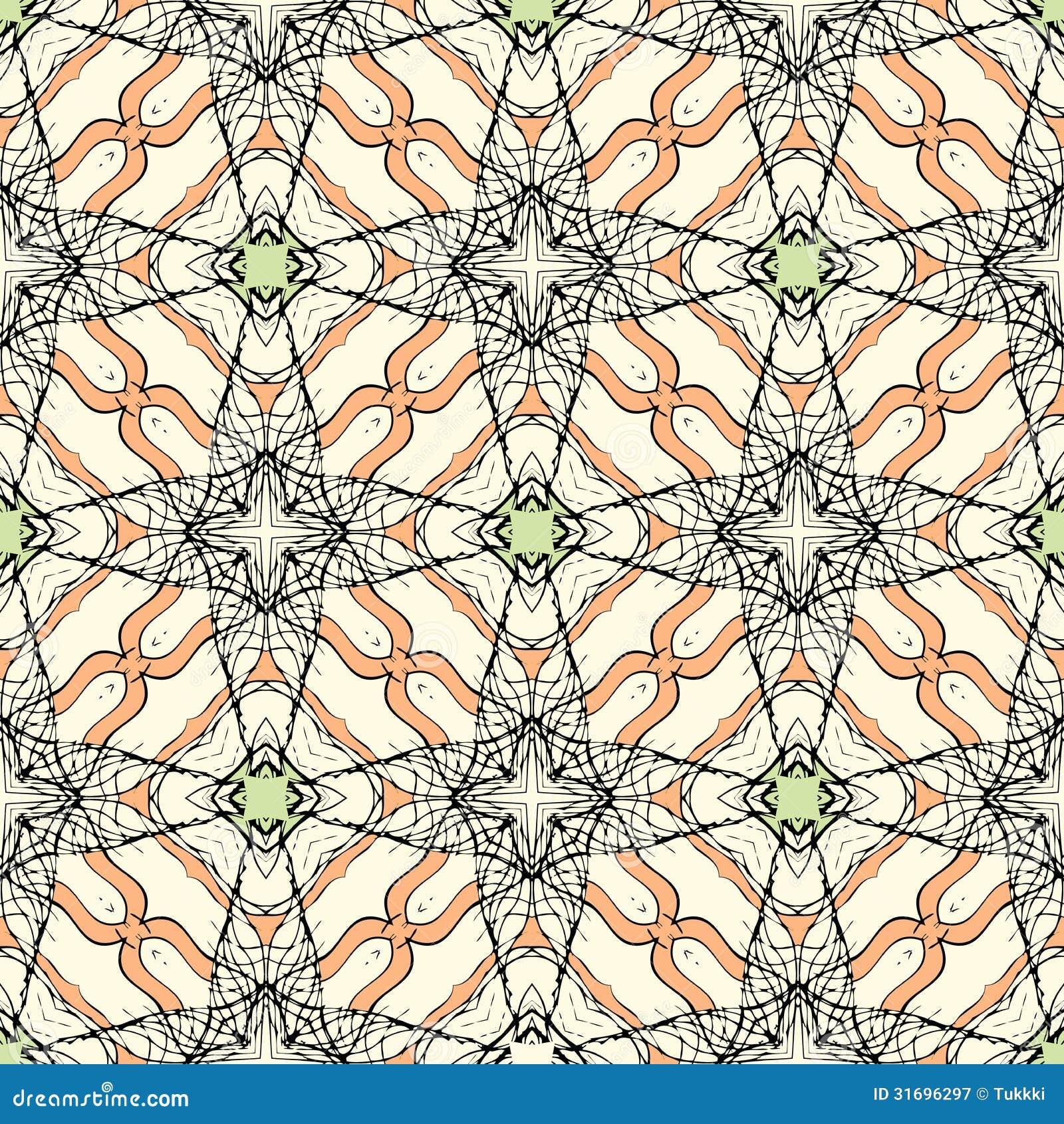 Het rijgen van patroon met gestileerde bladeren en bloemen royalty vrije stock fotografie - Oosters stof ...