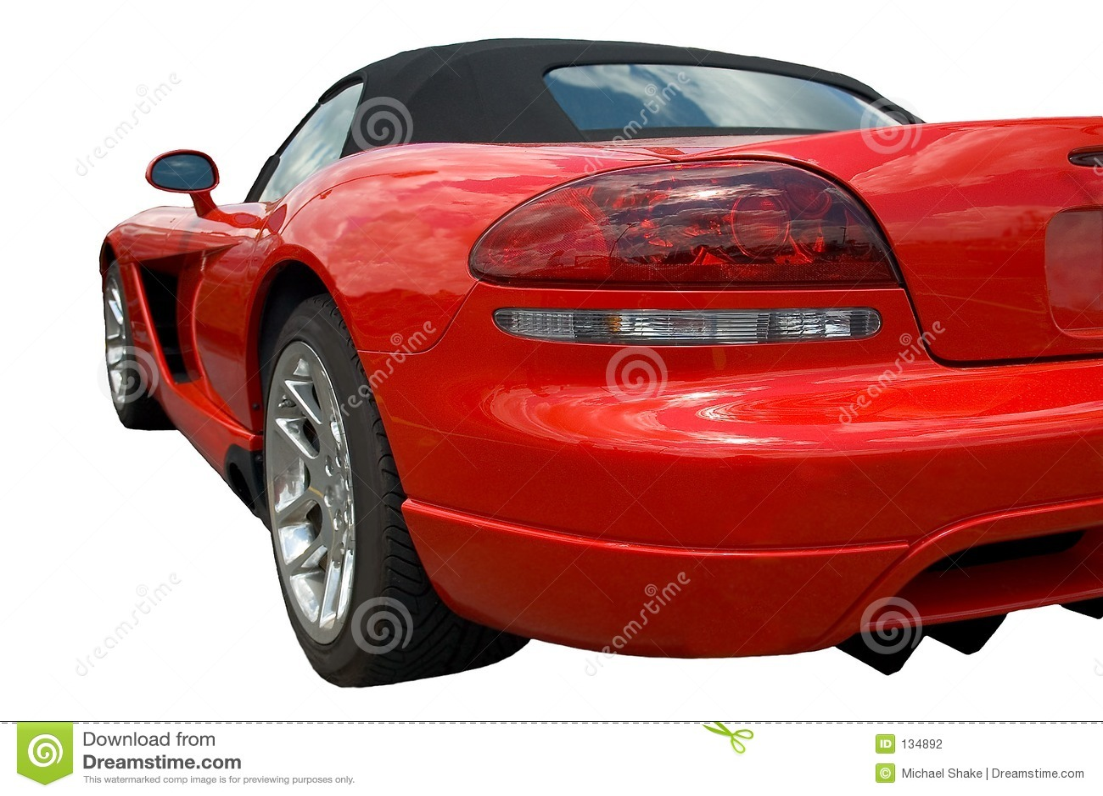 Het rode achtergedeelte van de sportwagenvorm