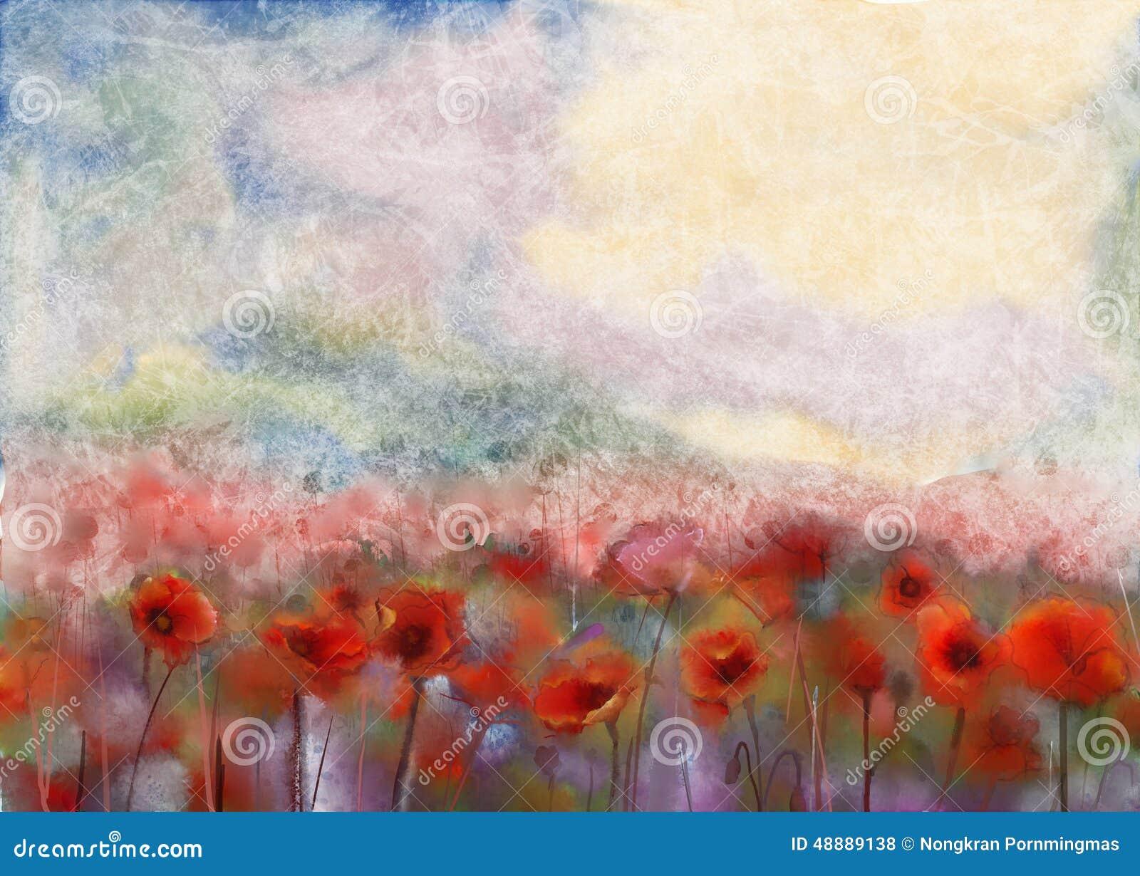 Het rode de kleur van het papaverbloemen ingediende water schilderen