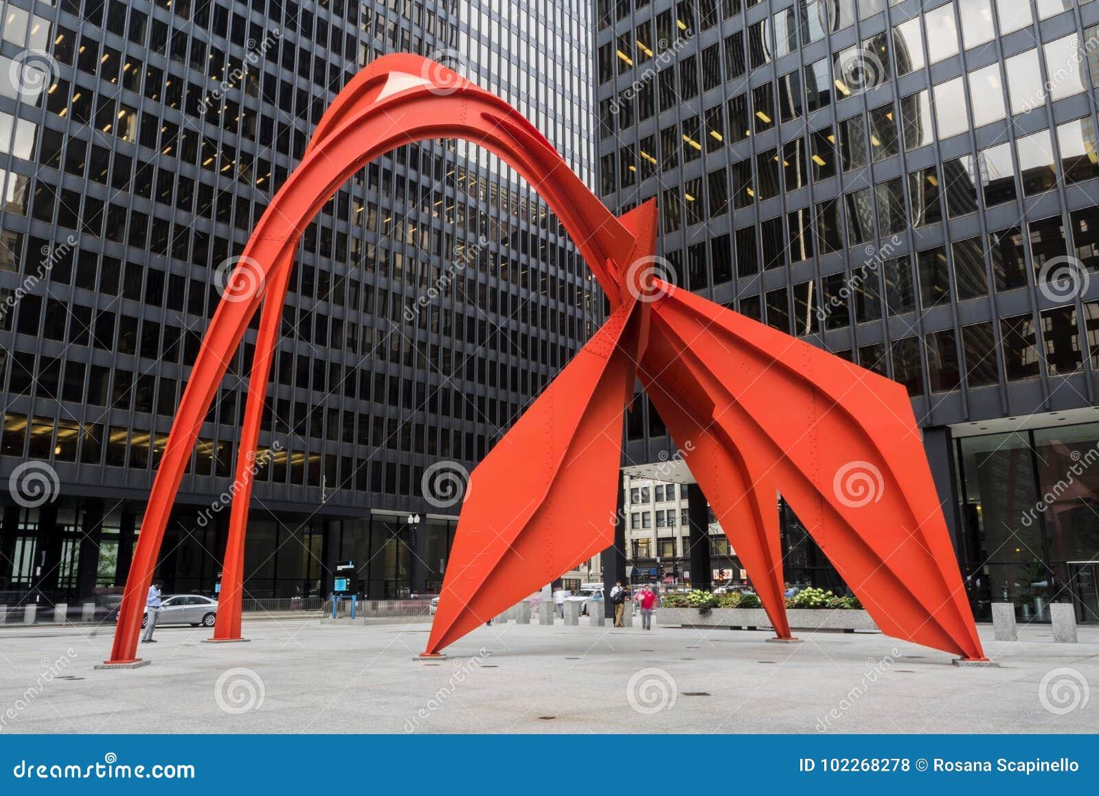 Het rode de stadsleven van Flamingochicago op Donderdag, derde van Augustus, 2017 - Chicago, Illinois