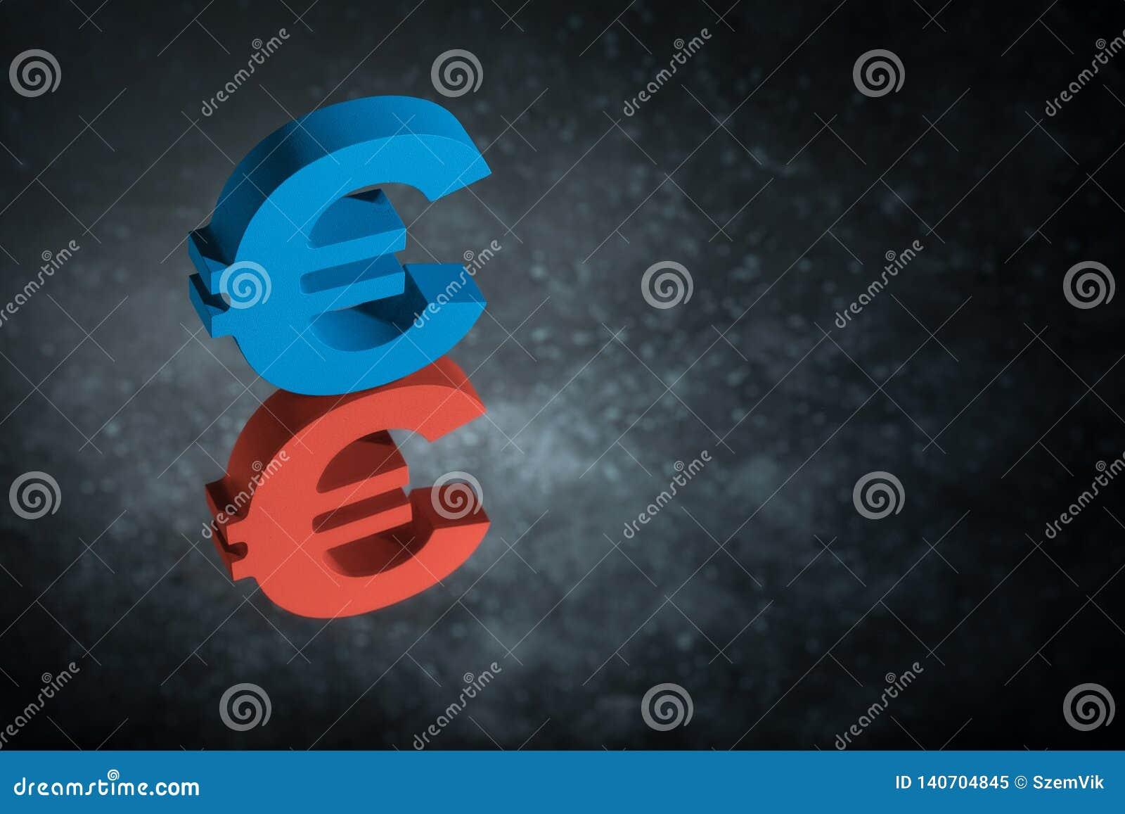 Het rode en Blauwe Valutasymbool of het Teken van de EU met Spiegelbezinning over Donker Dusty Background