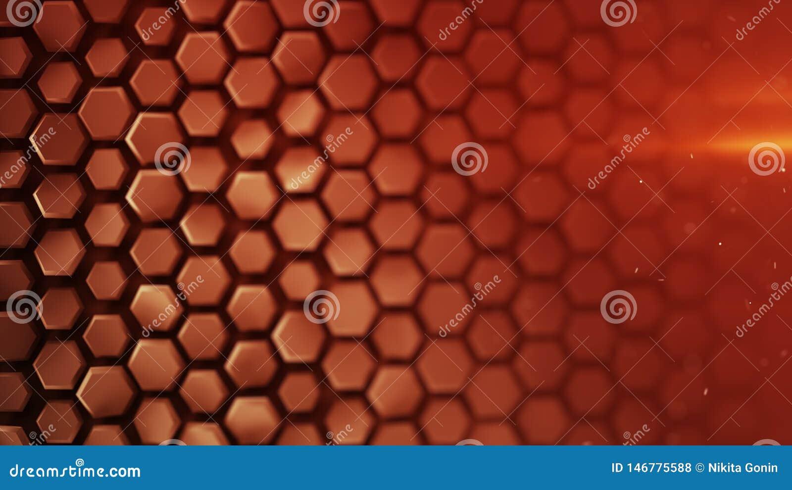 Het rode hexagon patroon abstracte 3D teruggeven