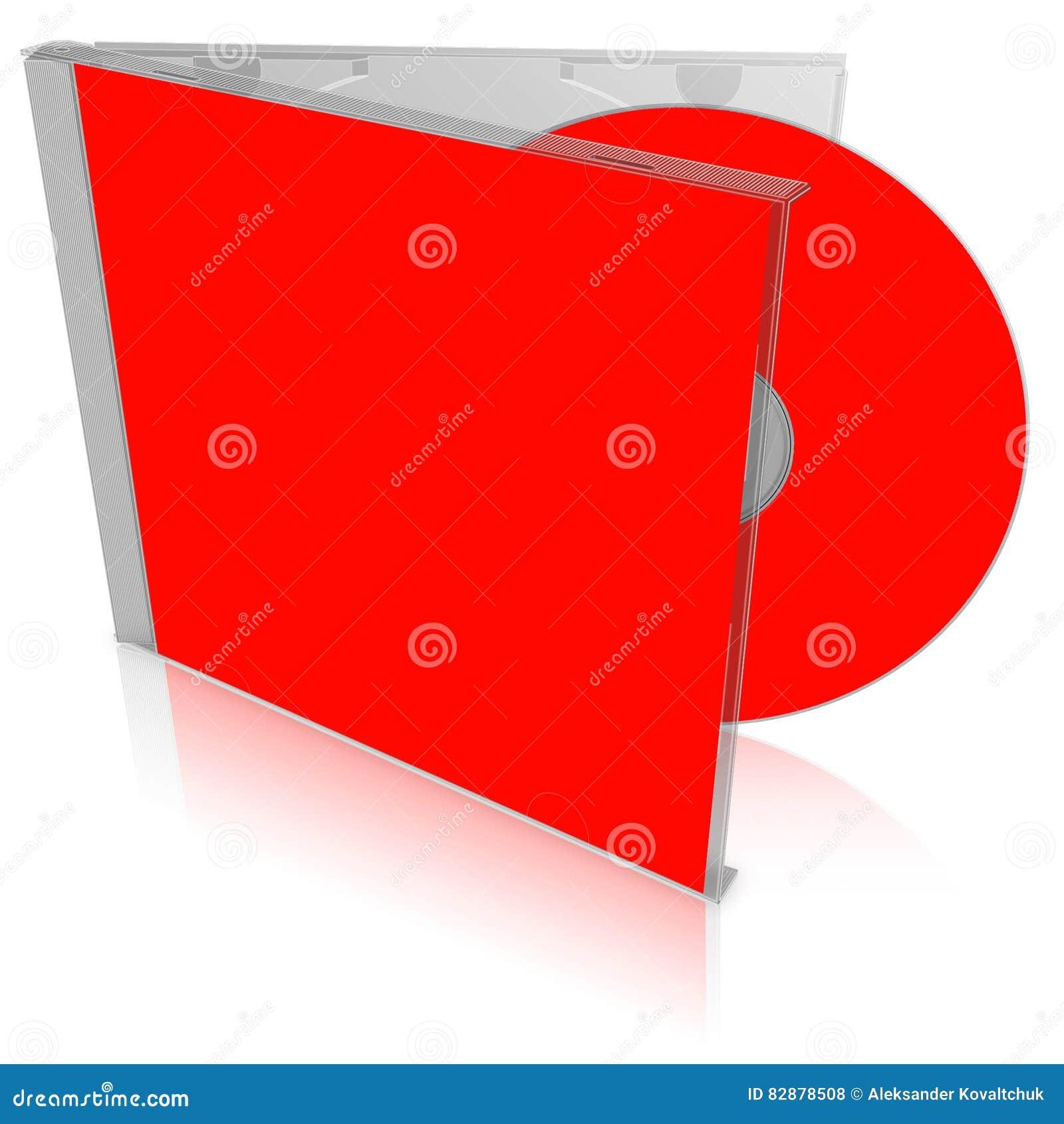 Het rode lege geval en de schijf van CD