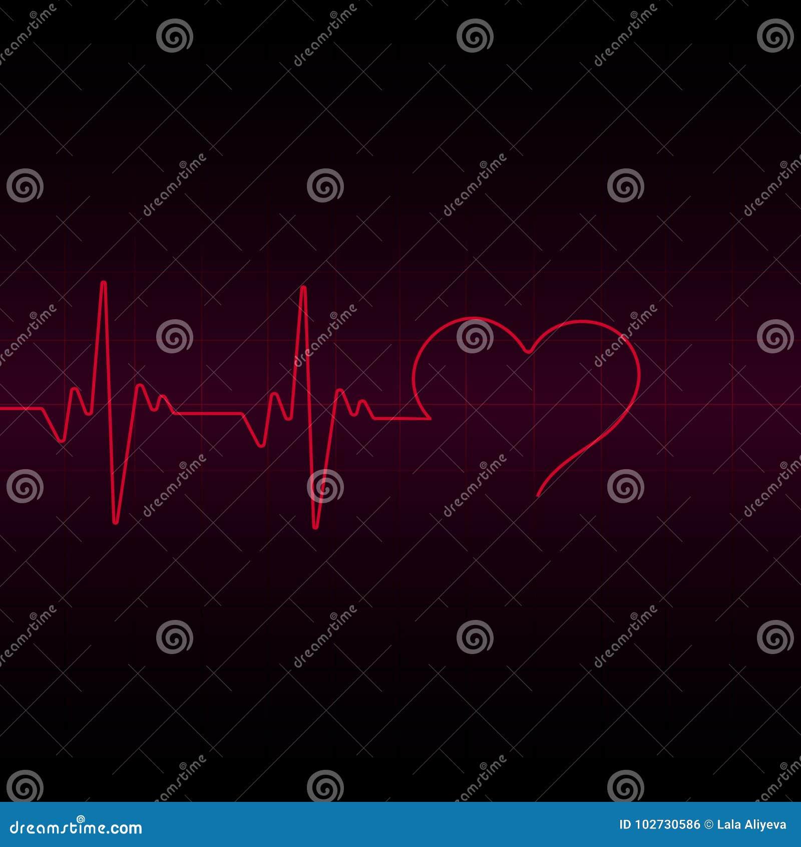 Het rode lichte transparante effect van de Hartimpuls, elektrocardiogram Vector illustratie