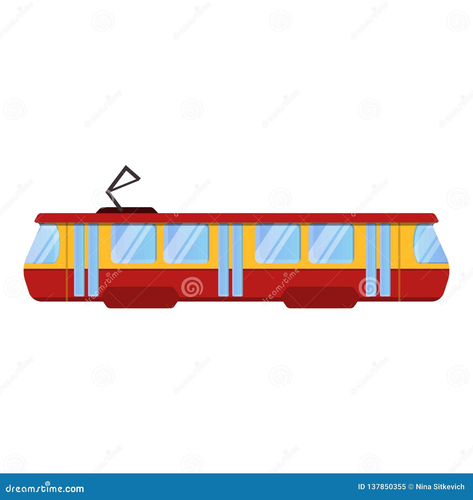 Het rode pictogram van de tramauto, beeldverhaalstijl