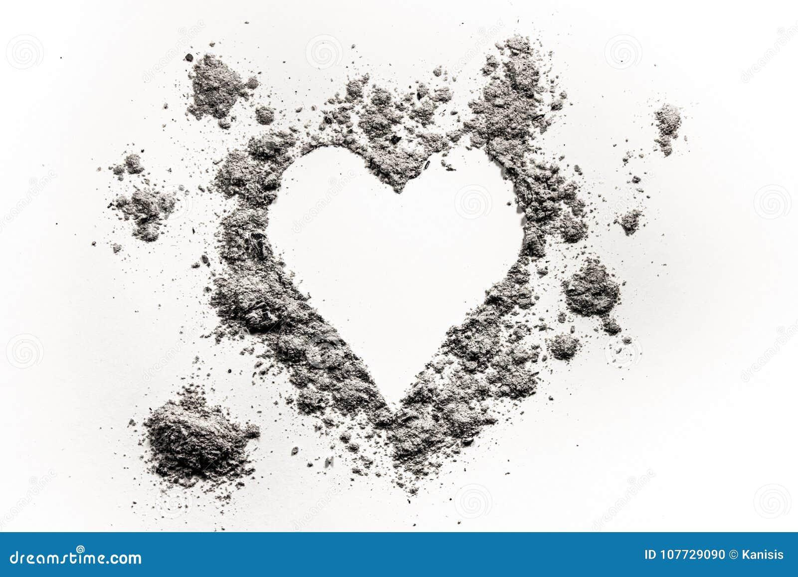 Het Romantische Die Symbool Van De Hartliefde In As Stof Of Zand