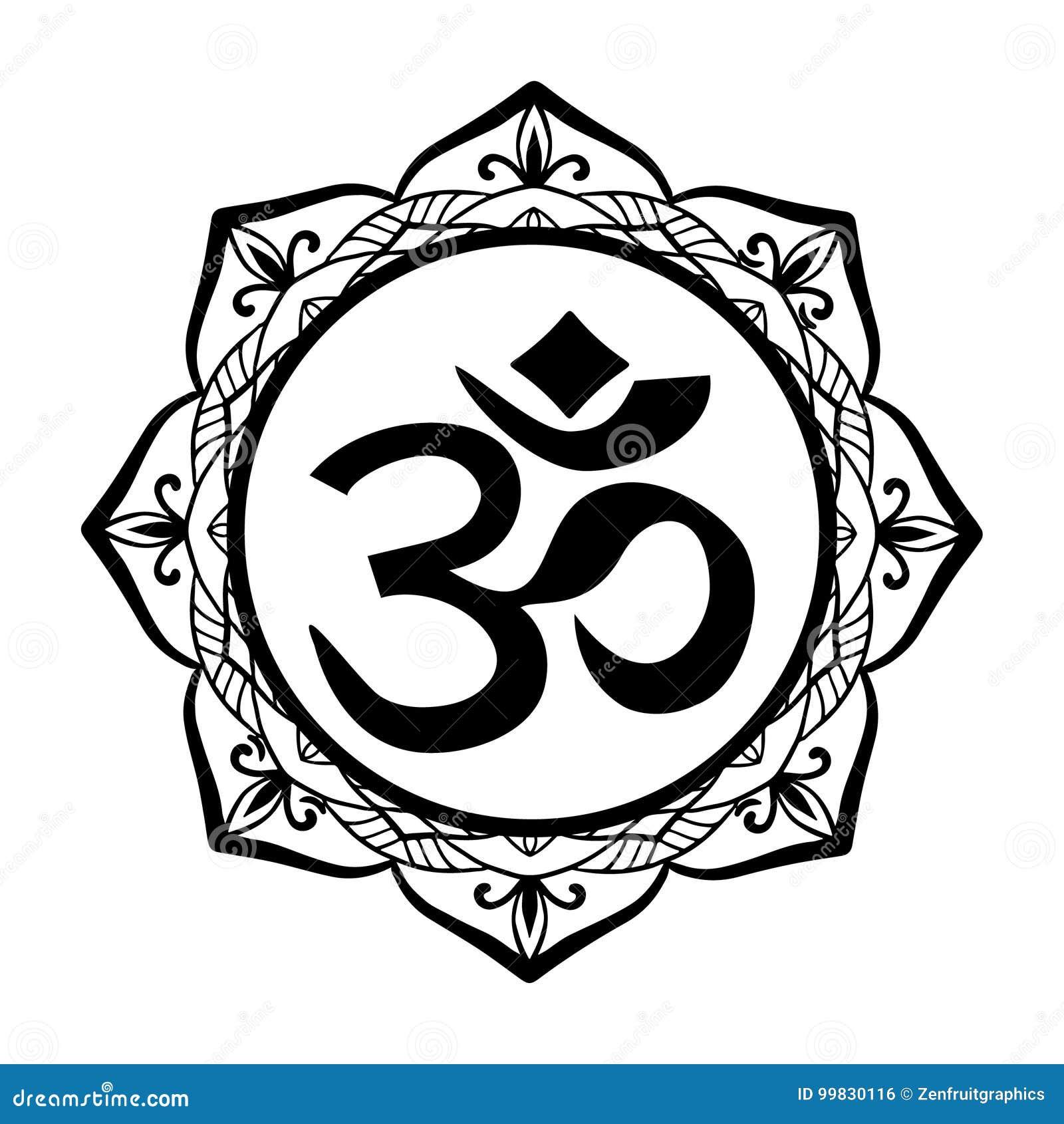 Het ronde bloemenmandalakader en Oh ondertekenen tatoegering of stencilen malplaatje, Heilig Hindoes symbool Yoga, spiritualiteit