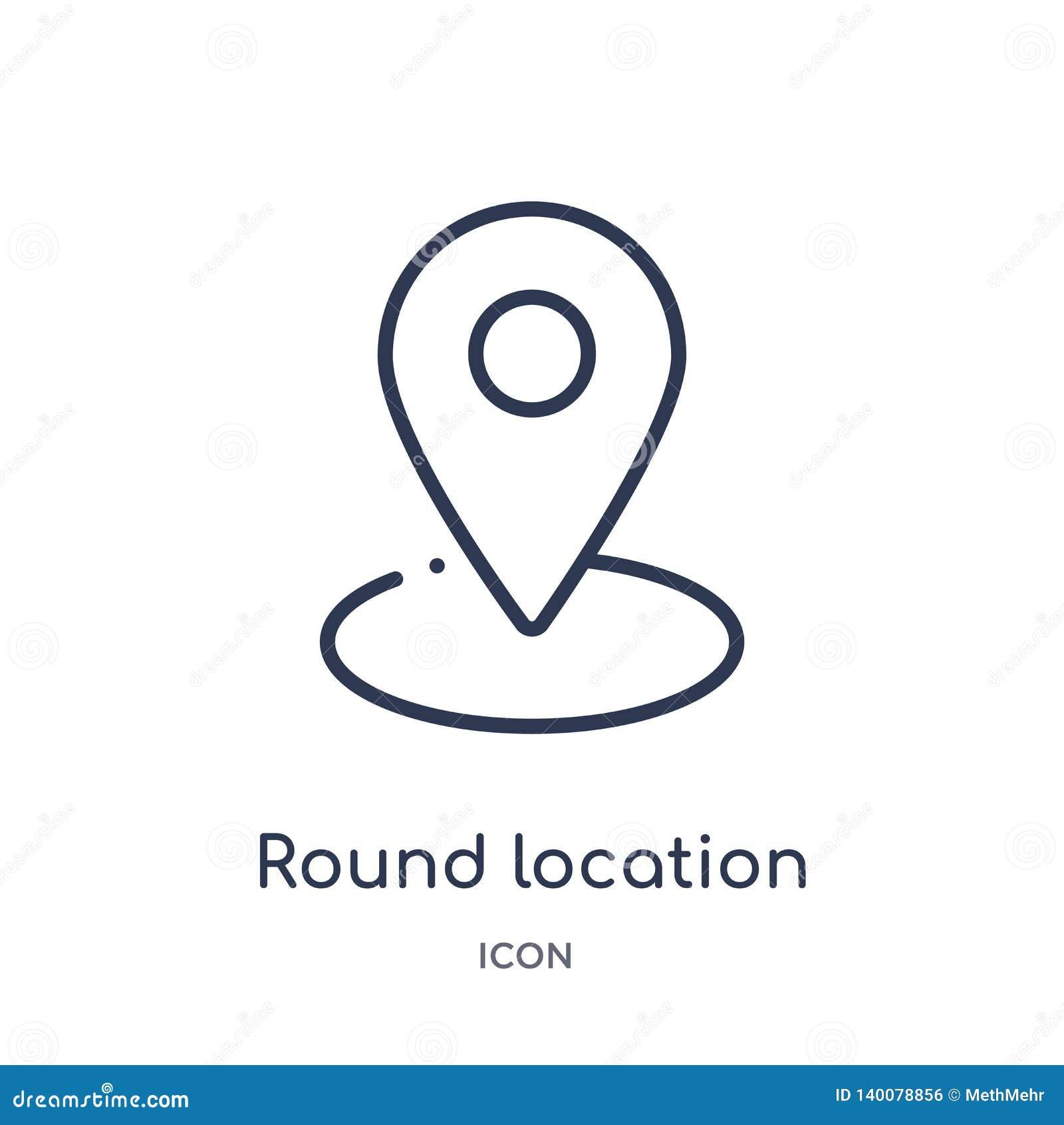 Het ronde pictogram van de plaatsindicator van de inzameling van het gebruikersinterfaceoverzicht Dunne die lijn om het pictogram