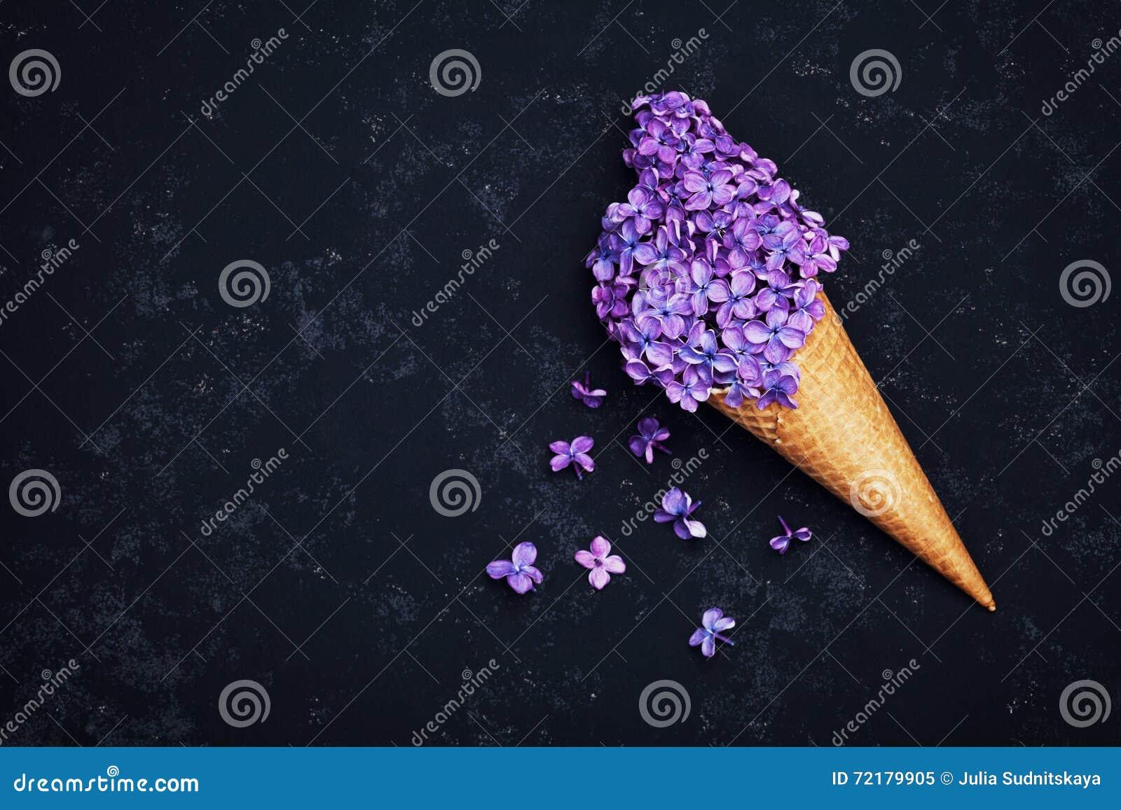 Het roomijs van lilac bloemen in wafelkegel op zwarte achtergrond van hierboven, mooie bloemenregeling, uitstekende vlakke kleur,