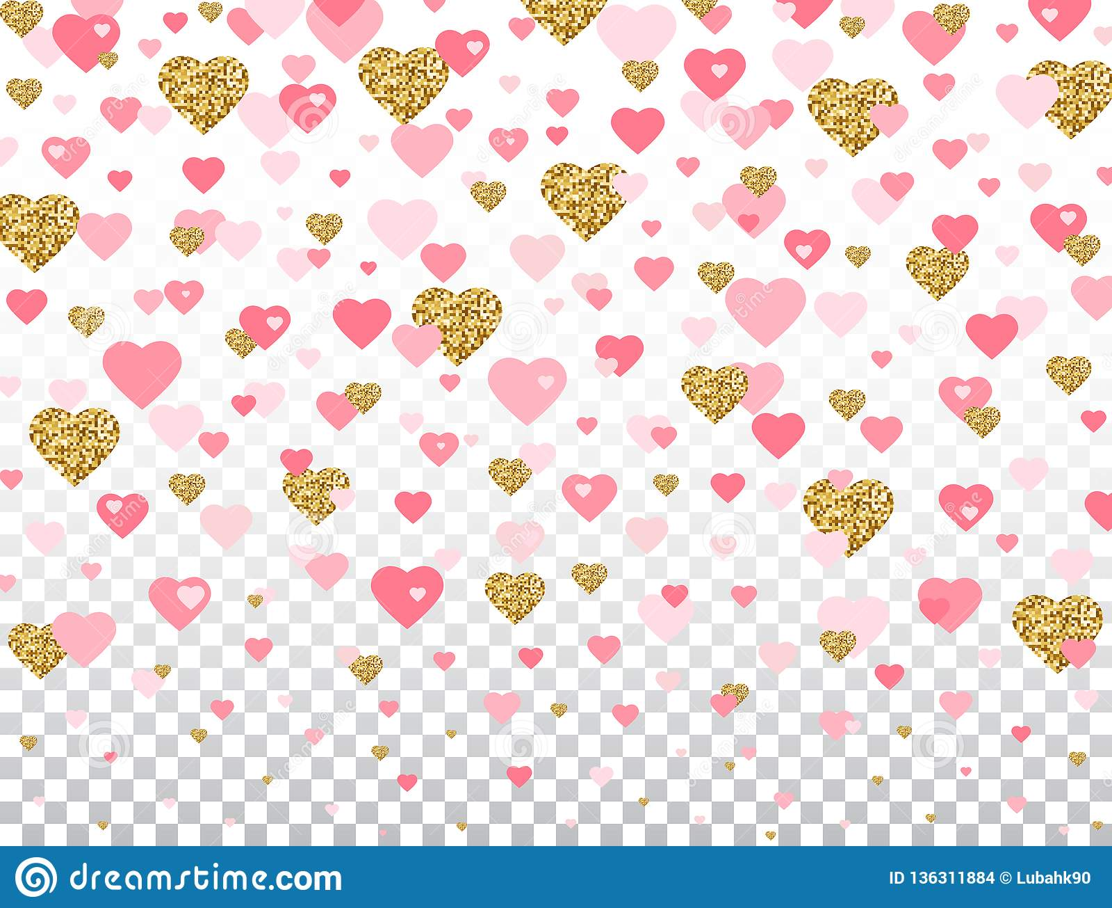 Het roze en het goud schitteren hartconfettien op transparante achtergrond Helder dalend hart met Romantische het ontwerpelemente
