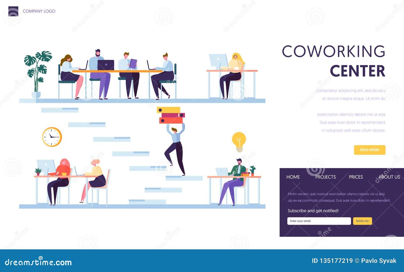 Het Ruimtelandingspagina van het Coworkingsbureau Het het Karakterwerk van mensenfreelancer door Laptop Zaken Team Outsourcing To