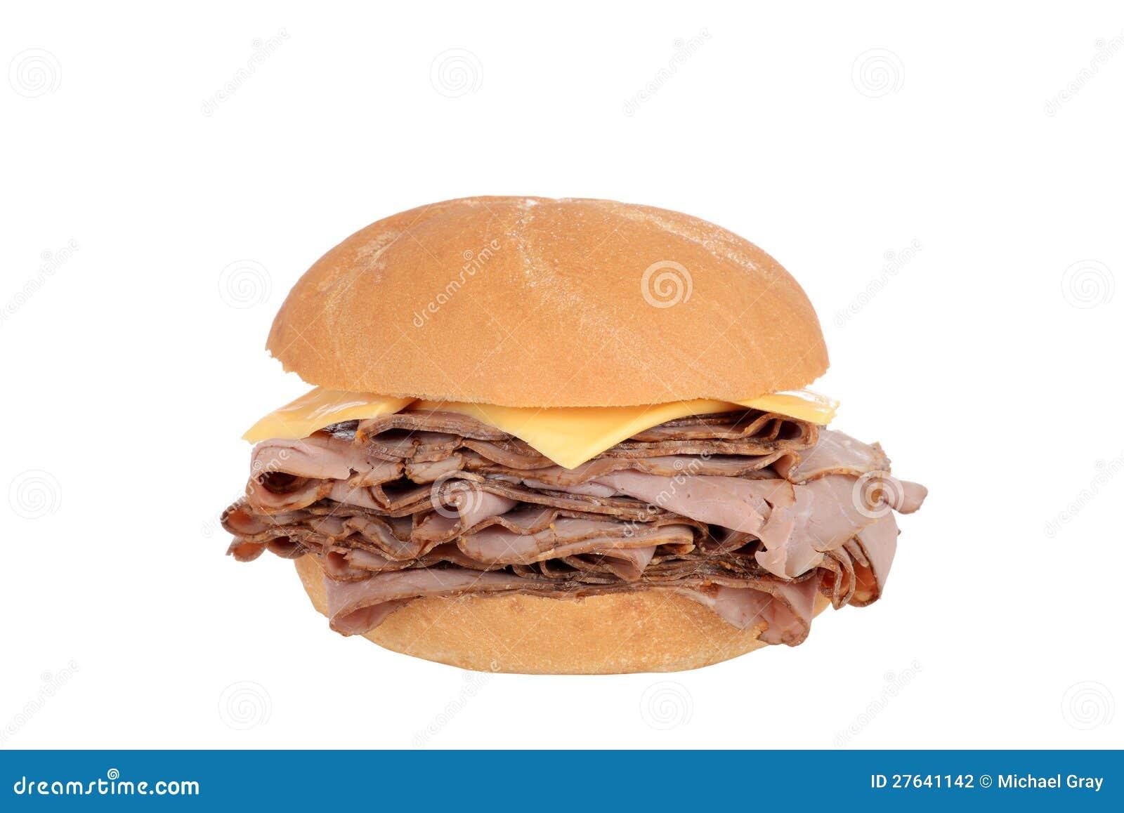 Het rundvleessandwich van het braadstuk met kaas