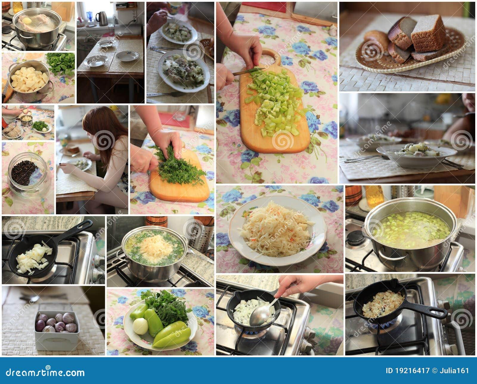 Het Russische koolsoep koken