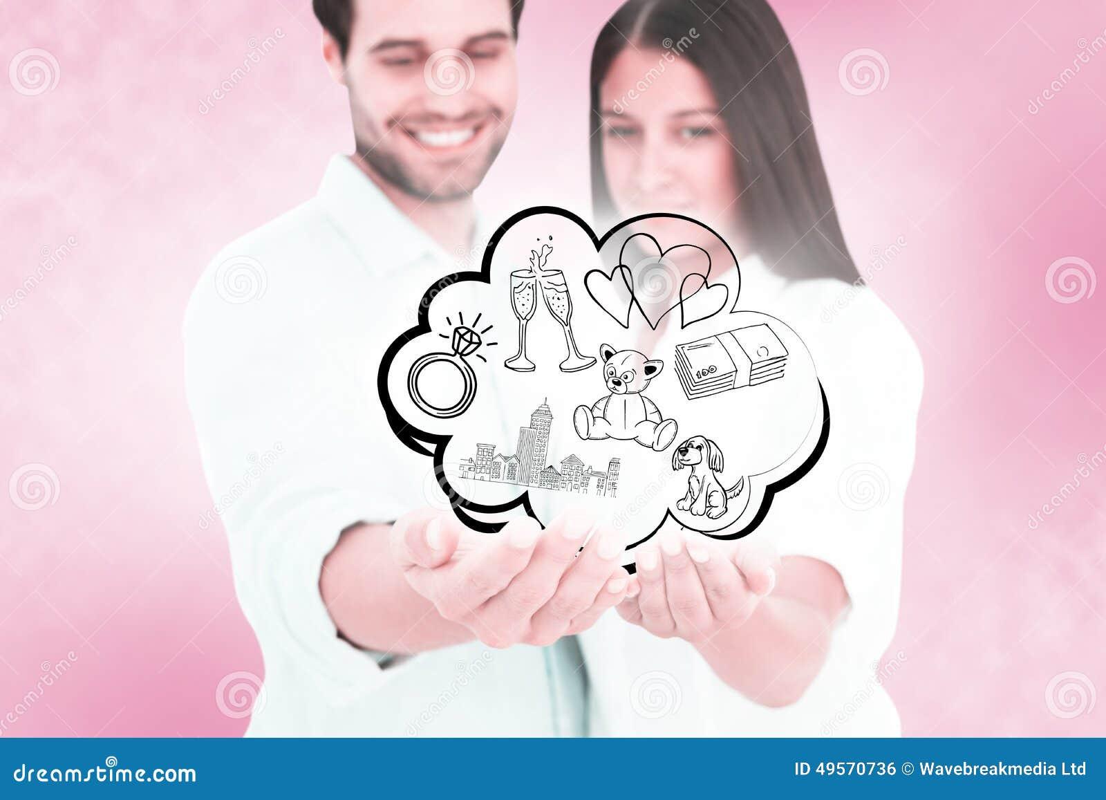 Het samengestelde beeld van aantrekkelijk jong paar die hun deelt houden uit stock foto - Beeld het meisje van ...