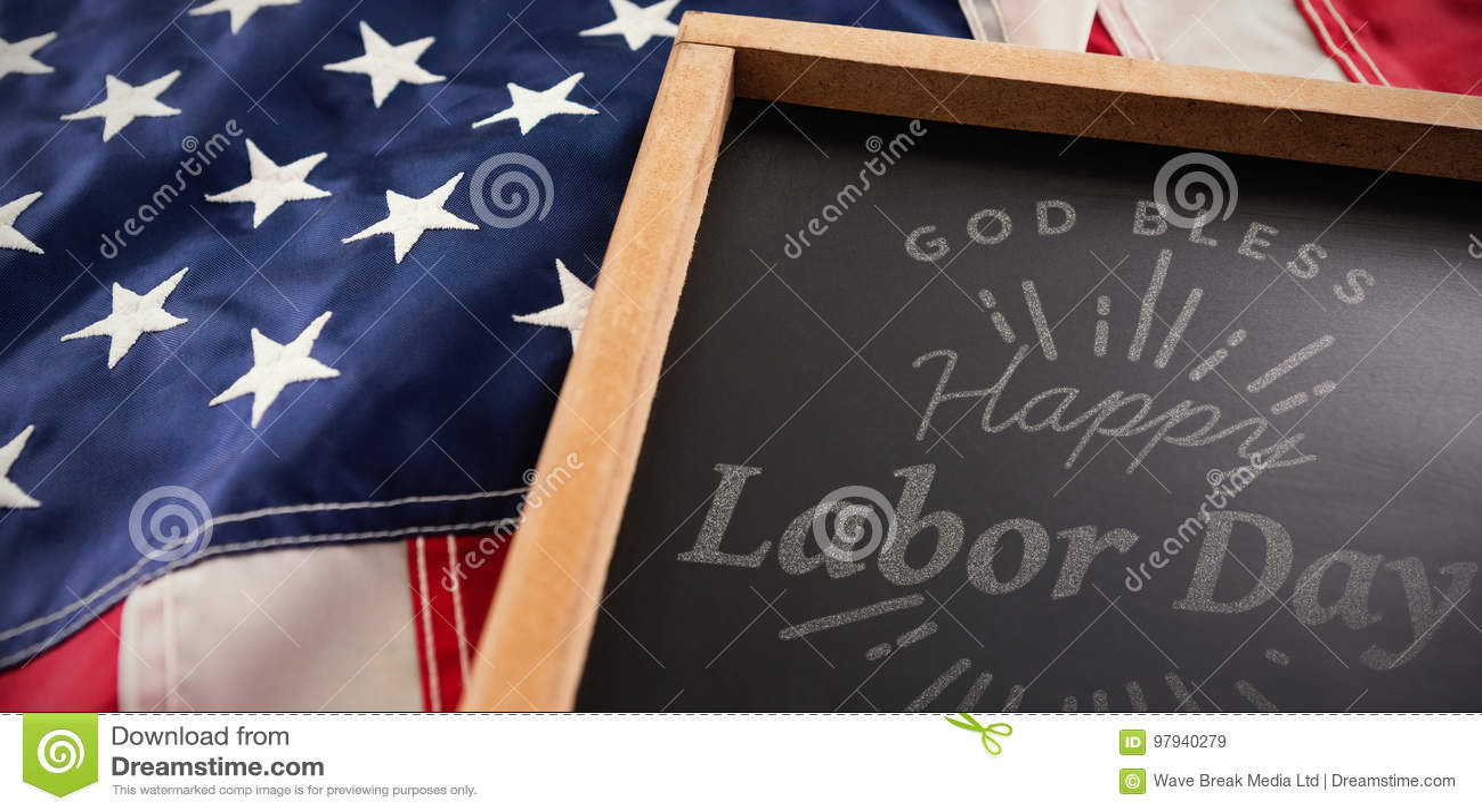 Het samengestelde beeld van digitaal samengesteld beeld van gelukkige arbeidsdag en de god zegenen de tekst van Amerika
