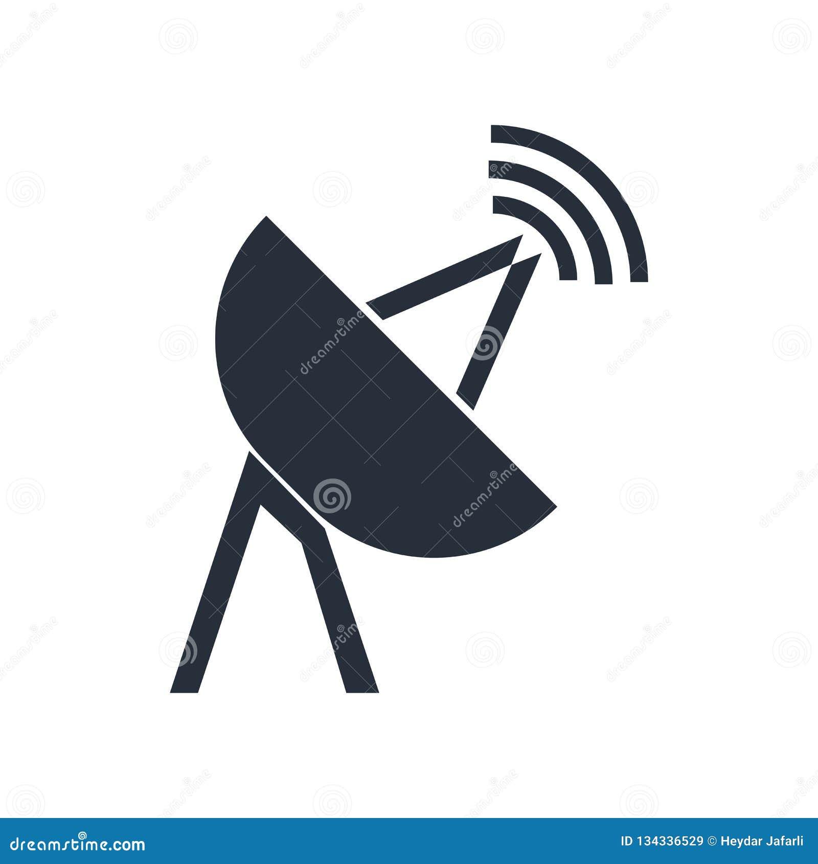 Het satelliet vectordieteken en het symbool van het antennepictogram op witte achtergrond, het Satellietconcept van het antenneem