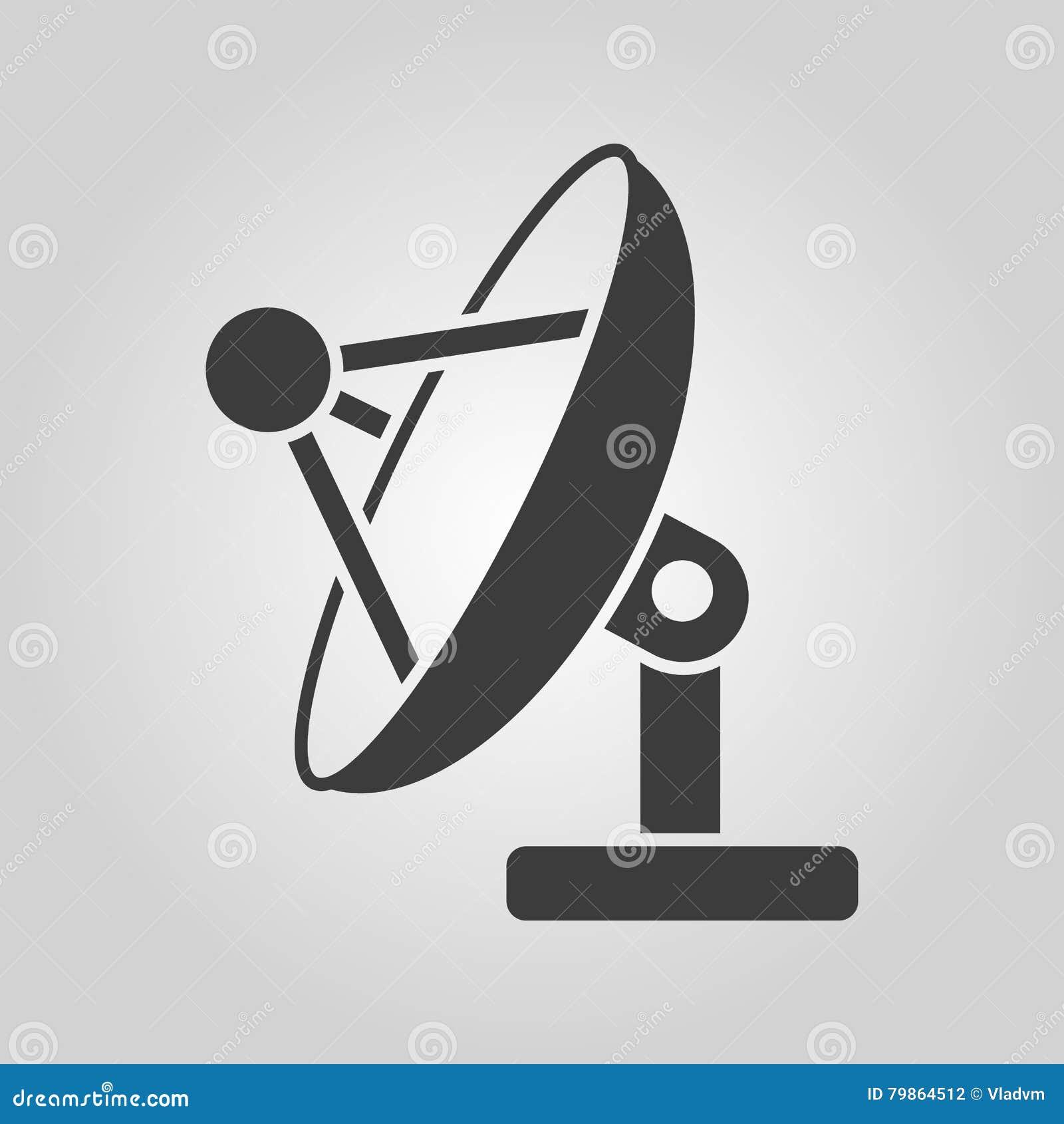 Het satellietantennepictogram Communiceer en zend, telecommunicatiesymbool uit vlak