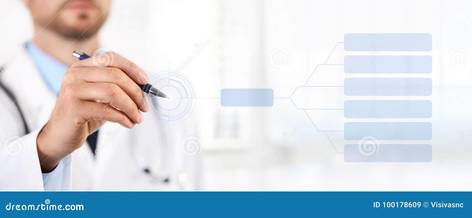 Het scherm van de artsenaanraking met een concept van de pen medisch gezondheid