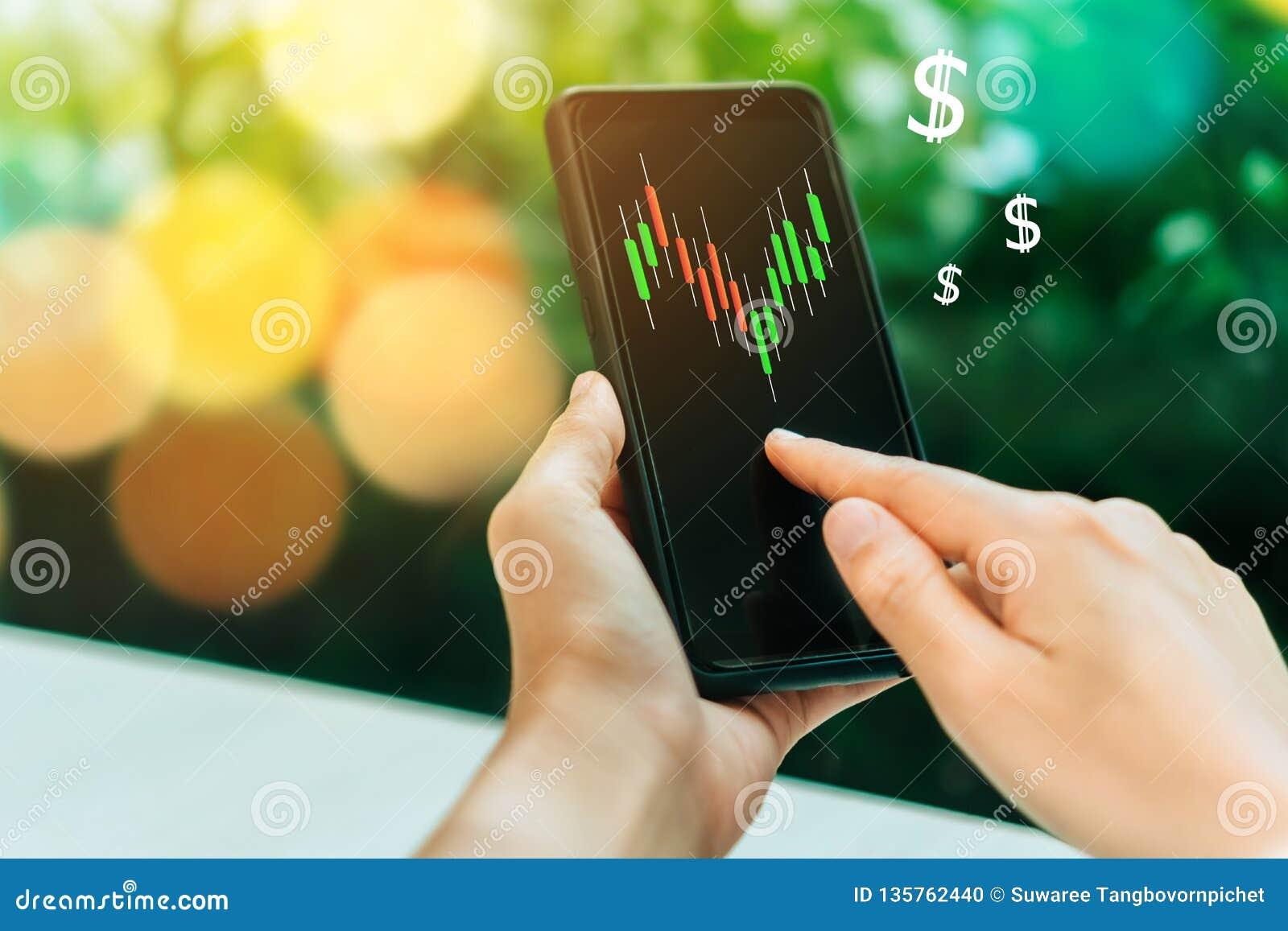 Het scherm van het de grafiekpictogram van de marktvoorraad van smartphoneachtergrond Het financiële de droomleven die van de bed