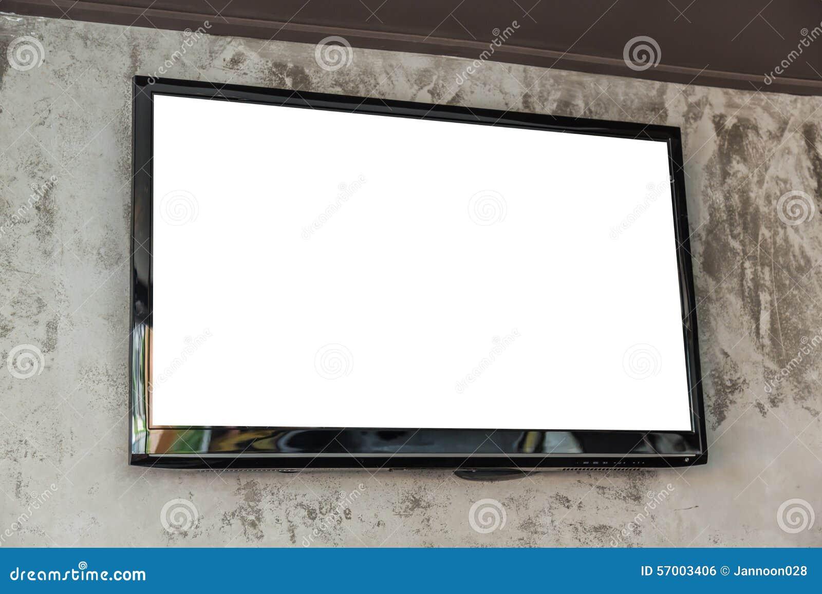 Het scherm van tv op muur stock foto   afbeelding: 57003406
