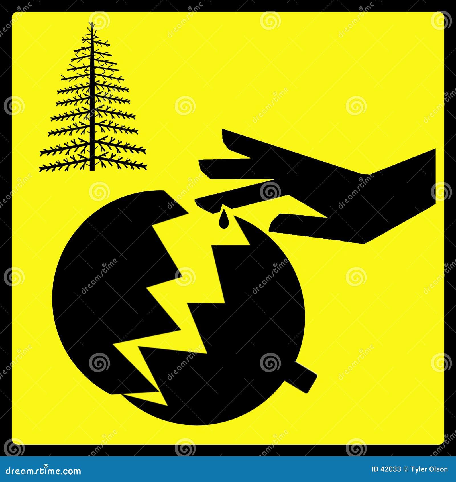 Het scherpe Gebroken Teken van het Ornament van de Kerstboom