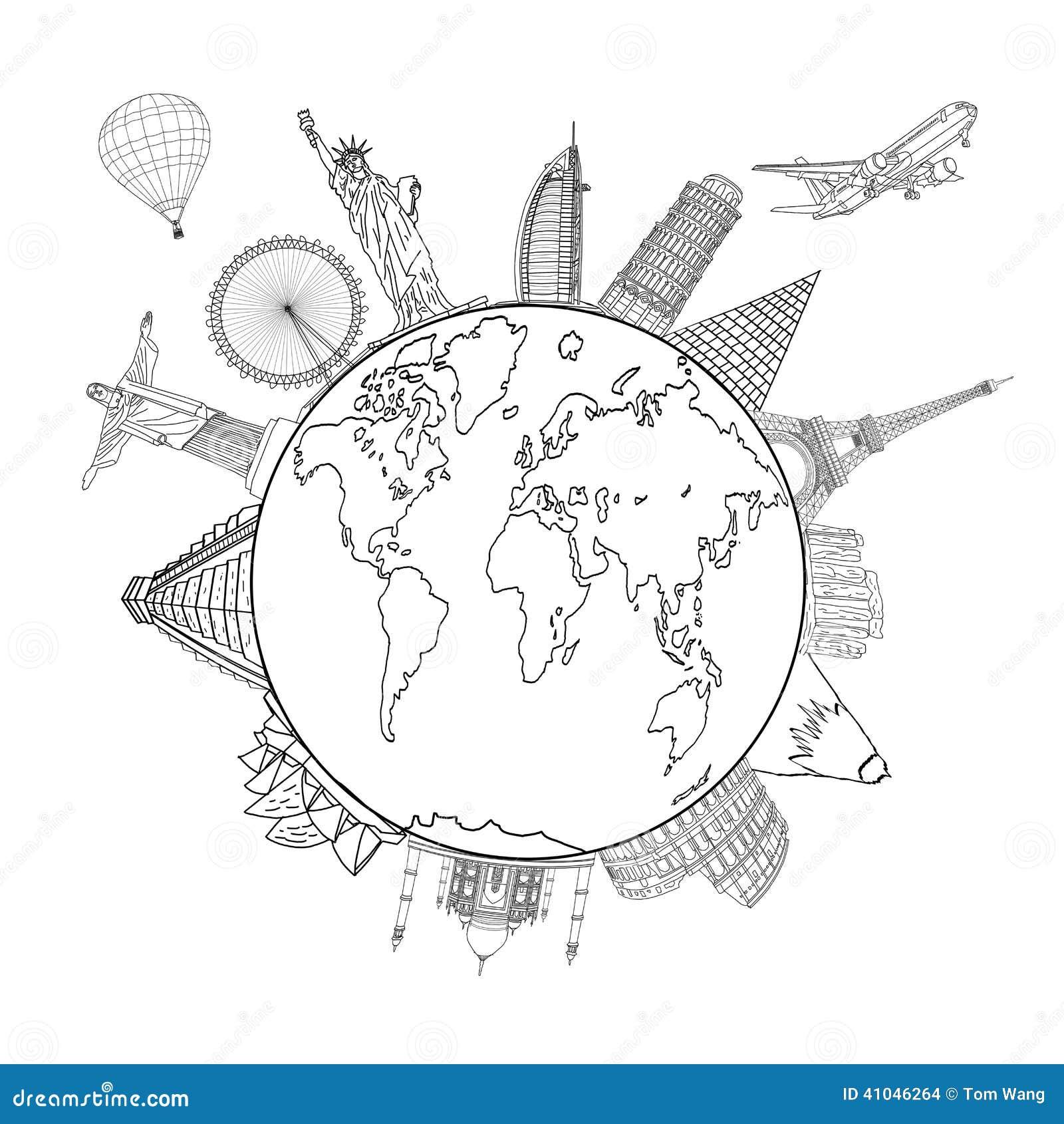 Het schetsen van de Aarde en de Globale kaart met oriëntatiepunten