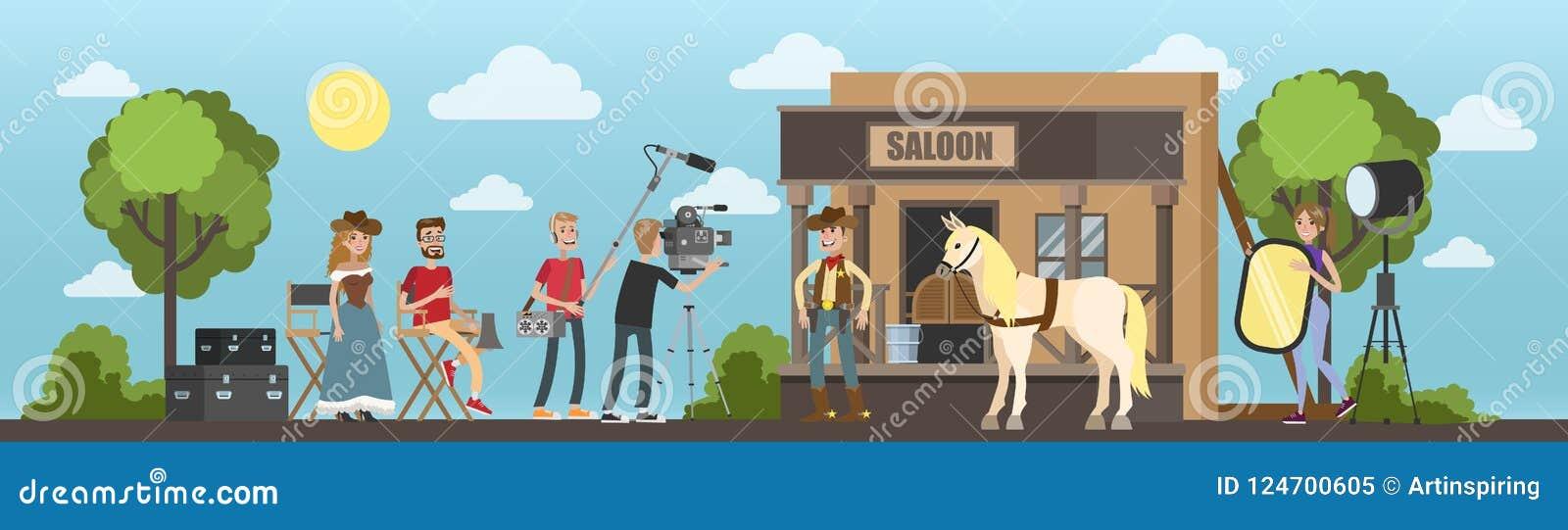 Het schieten van westelijke film met cowboy bij de zaal