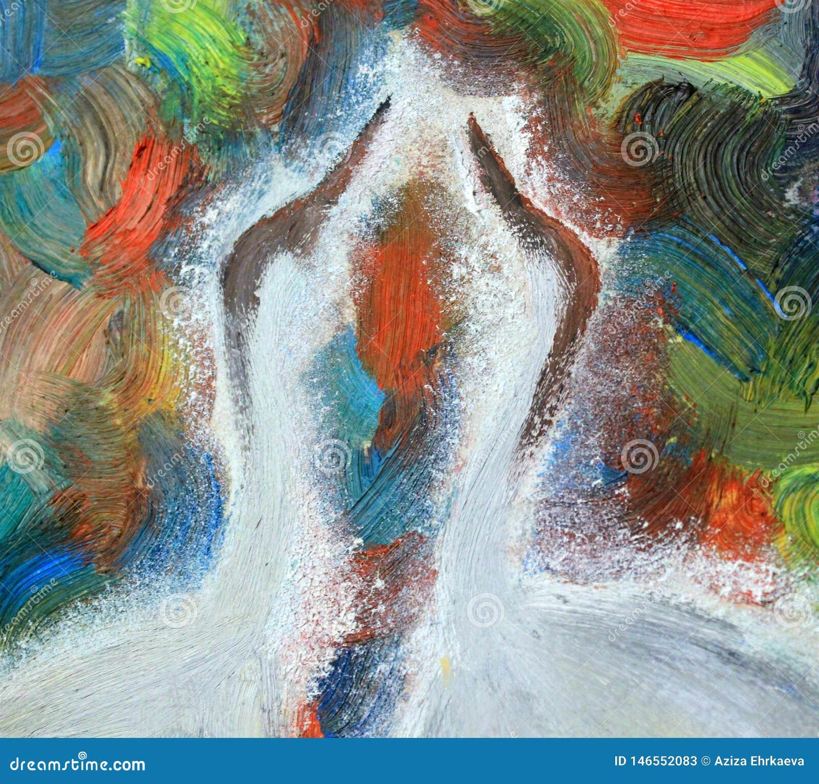 Het schilderen, olieverfschilderij, verschillende kleuren van de achtergrond, kranen, vogelhoofd
