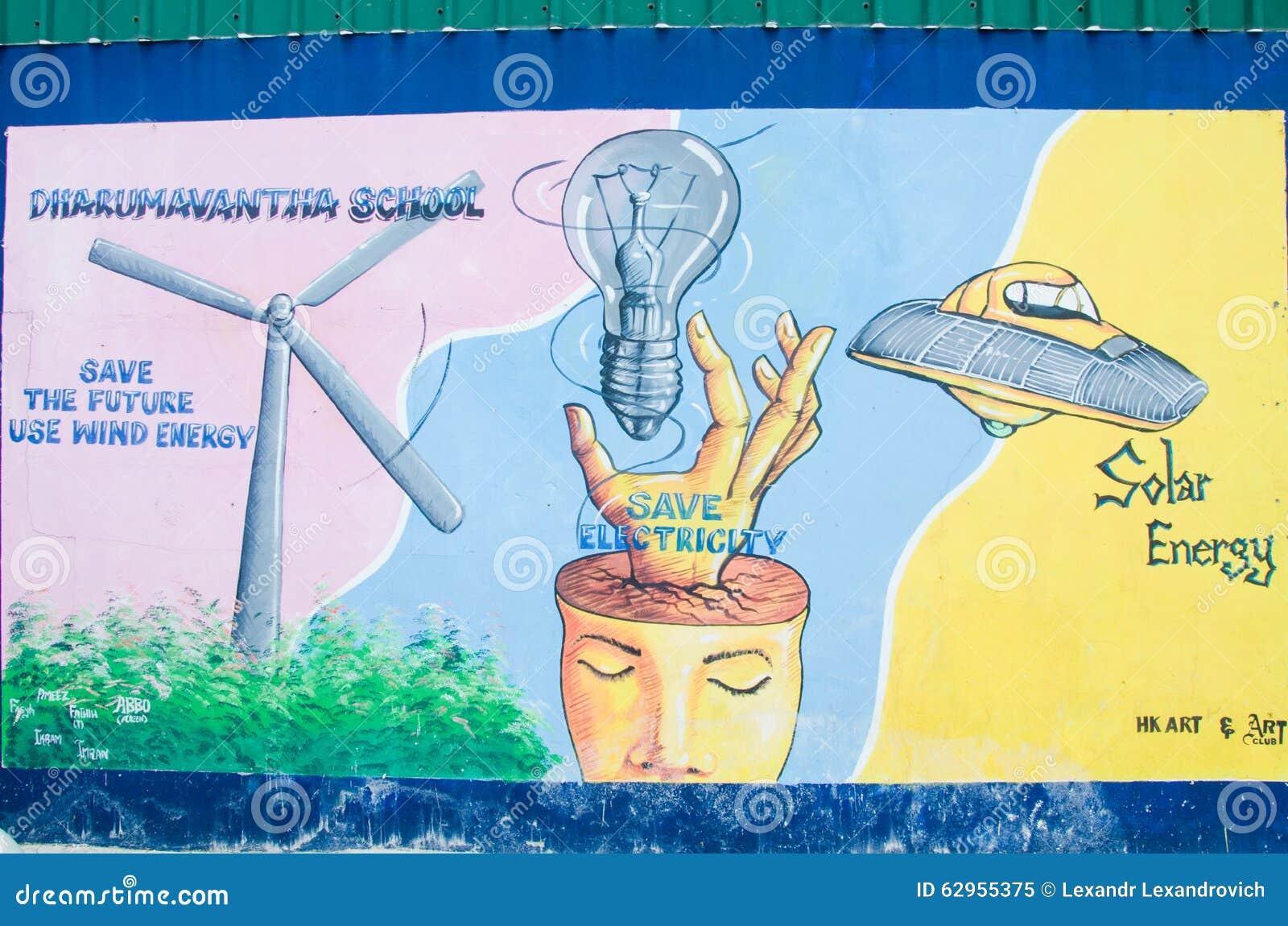 Het schilderen op het muur environmentl thema