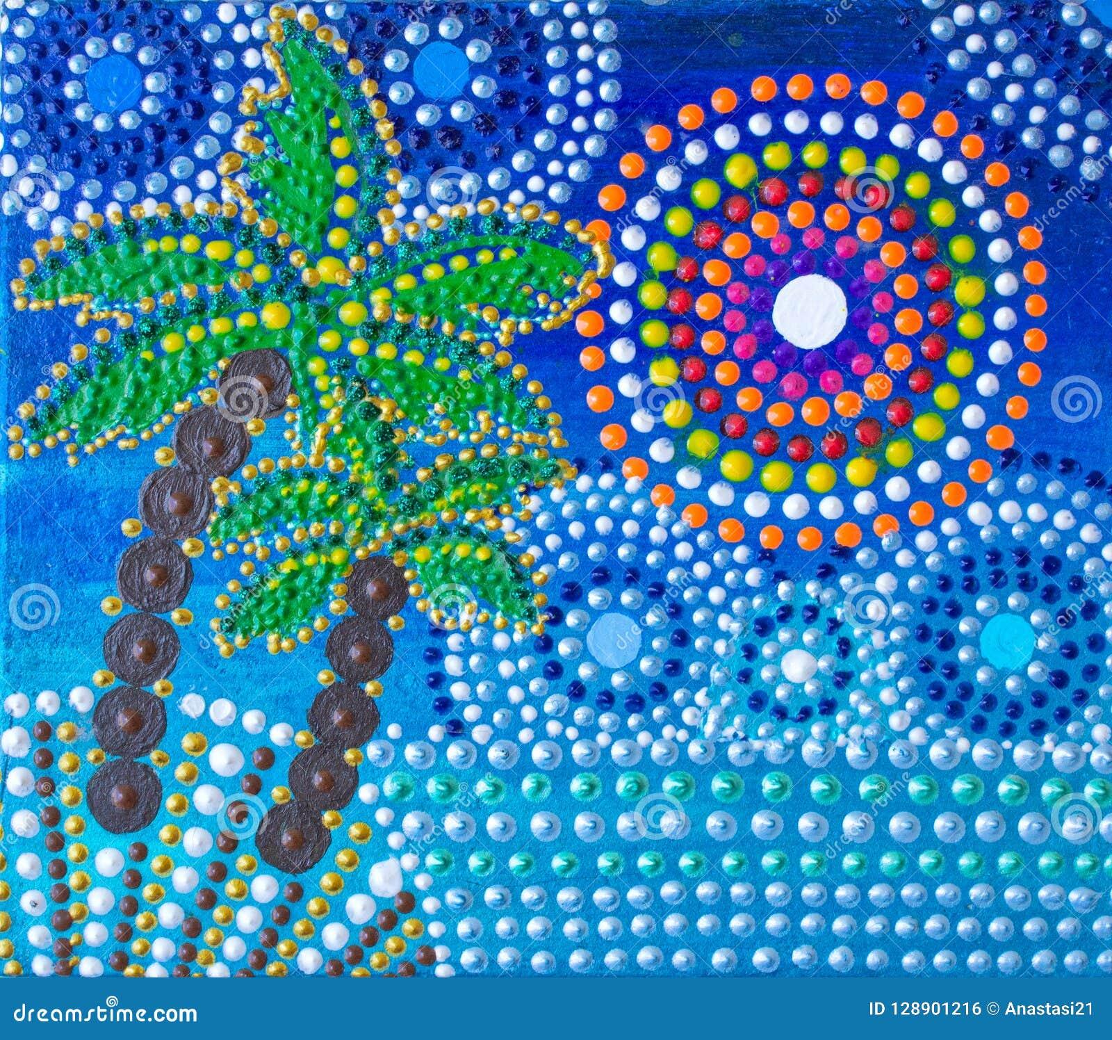 Het schilderen, palmen, mandala op de kust