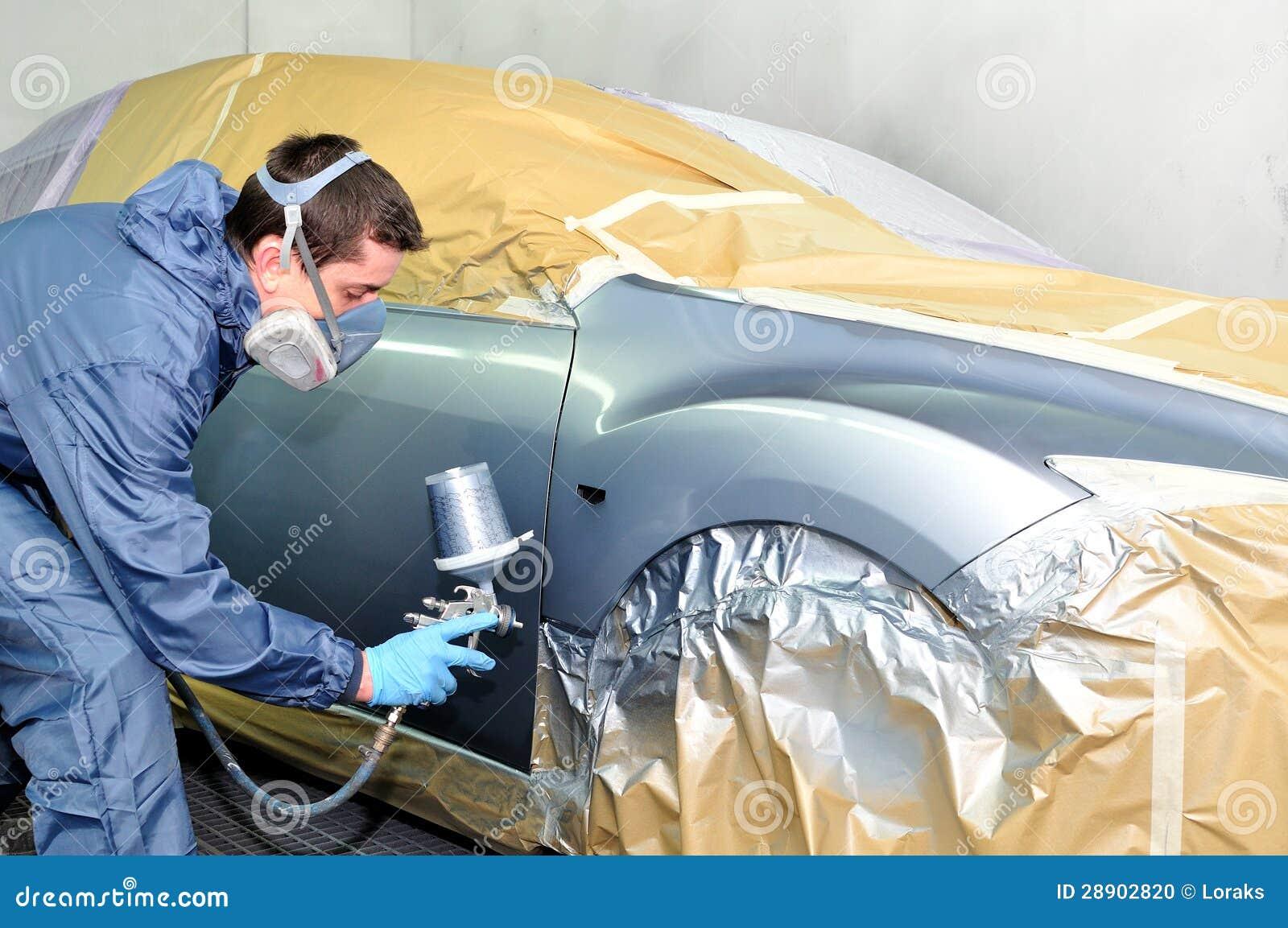 Het schilderen van de arbeider.