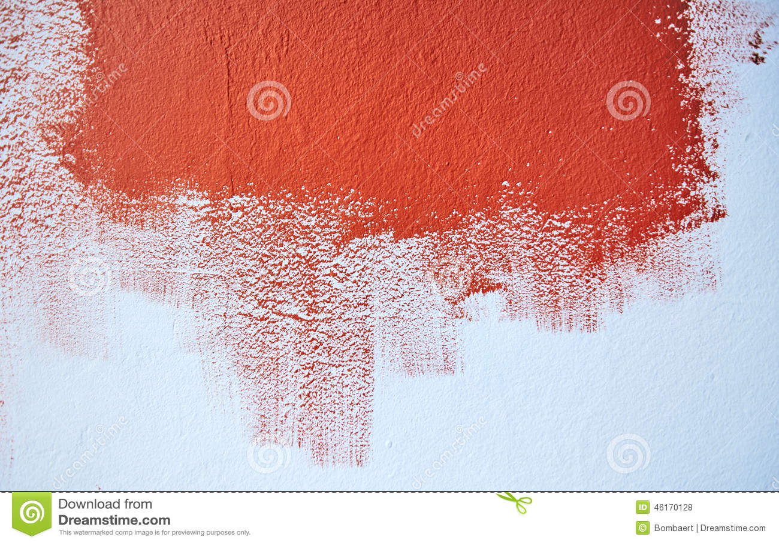 Het Schilderen Van De Blauwe Muur Met Rode Kleur Stock Foto ...