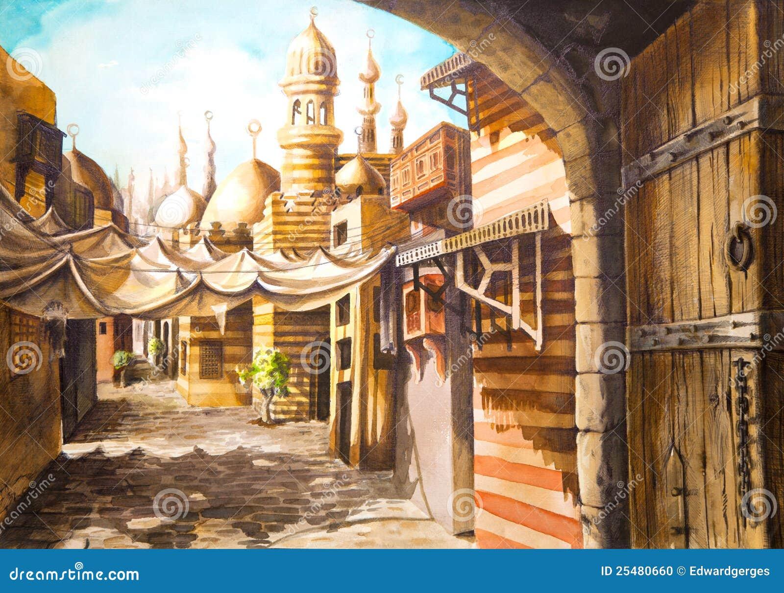 Het schilderen van de moskee stock illustratie for Egyptian fresco mural painting