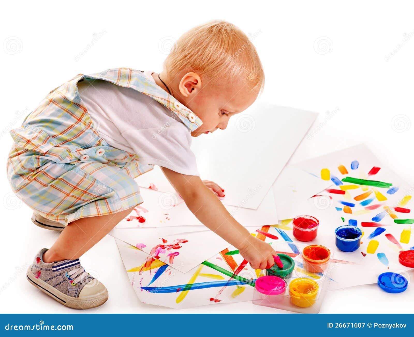 Het schilderen van het kind door vingerverf stock afbeelding afbeelding 26671607 - Schilderen kind jongen ...