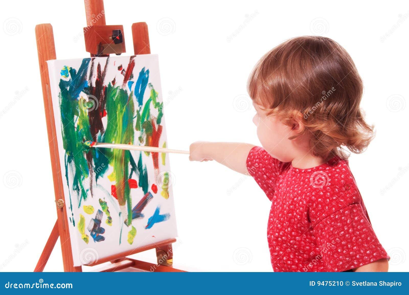 Het schilderen van het kind op schildersezel stock foto afbeelding 9475210 - Schilderen kind jongen ...