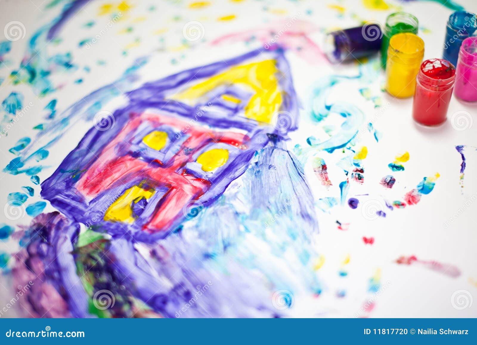 Het schilderen van het kind van een huis
