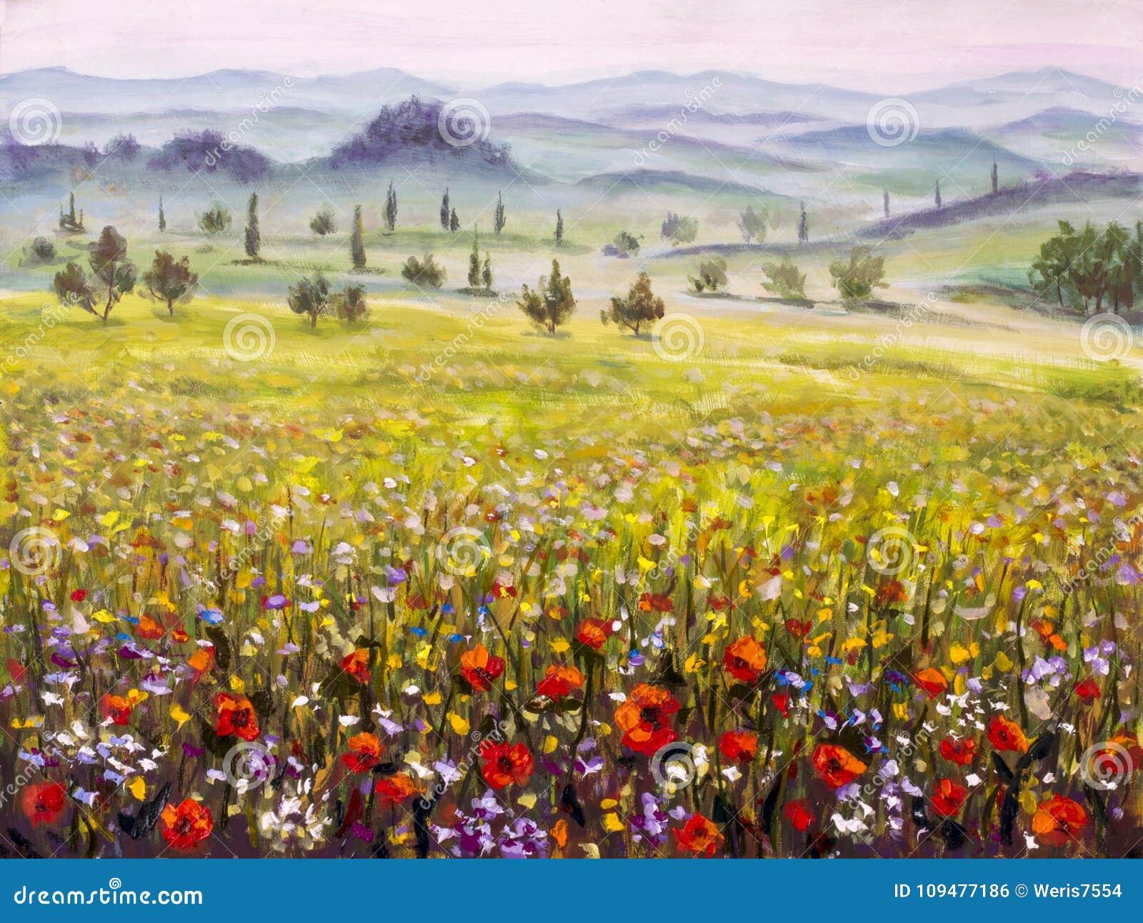 Het schilderen van Italiaans de cipressenlandschap van Toscanië met bergen, het Kunstwerk van het bloemengebied op canvas