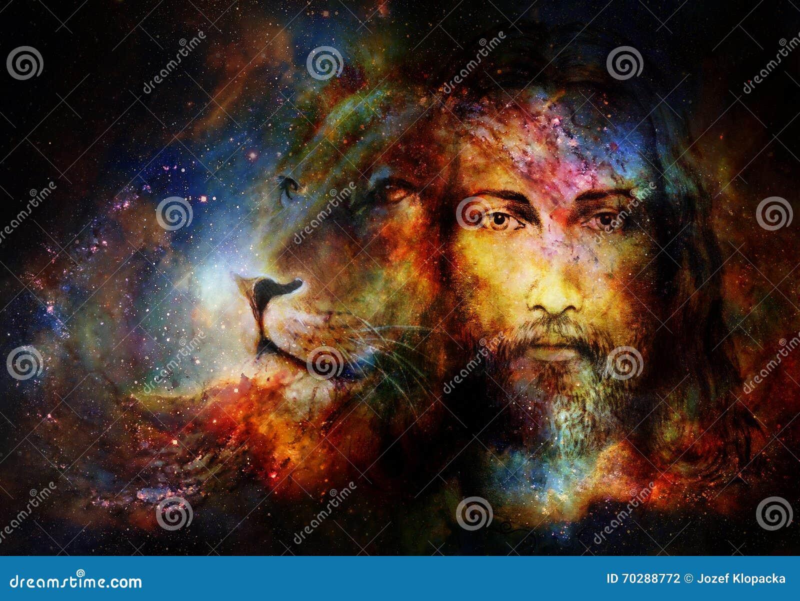 Het schilderen van Jesus met een leeuw in cosimcruimte, oogcontact en het portret van het leeuwprofiel